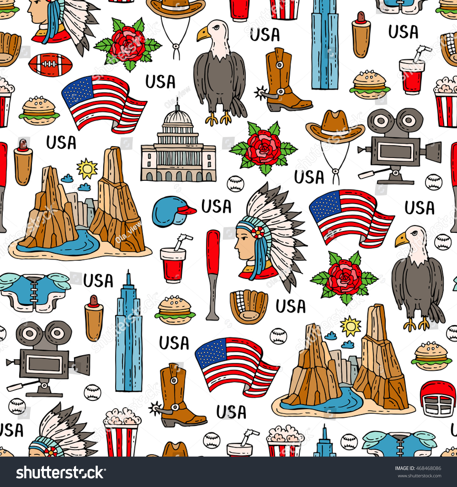 Vector Seamless Pattern On Theme Usa Stock Vector Royalty Free