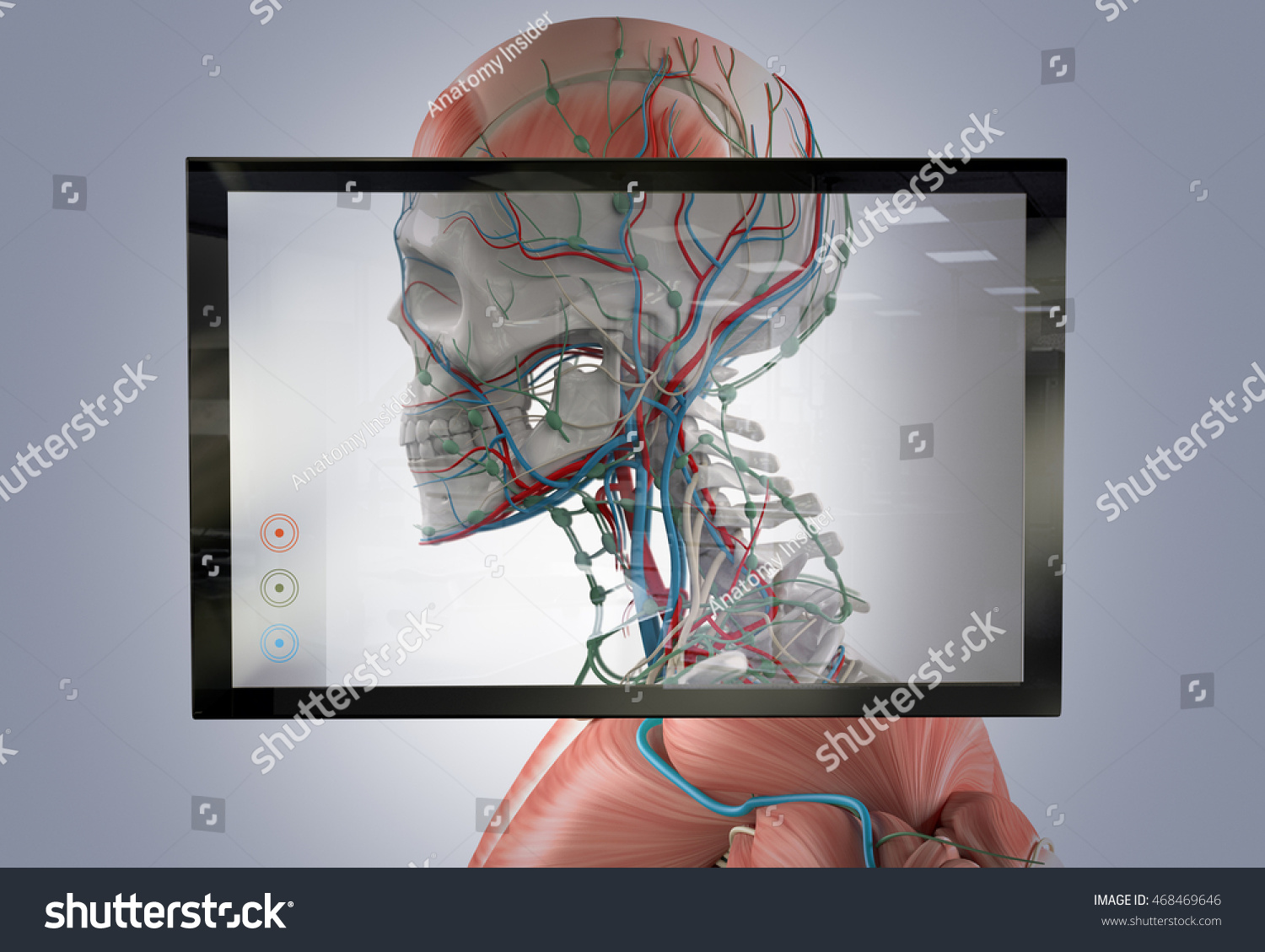 Augmented Reality Showing Human Anatomy 3 D Stock Illustration