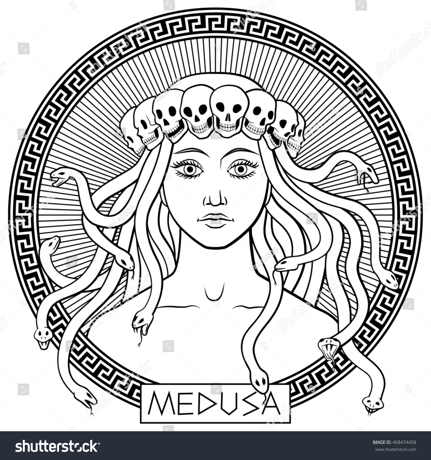 portrait ancient greek mythical character medusa stock vector