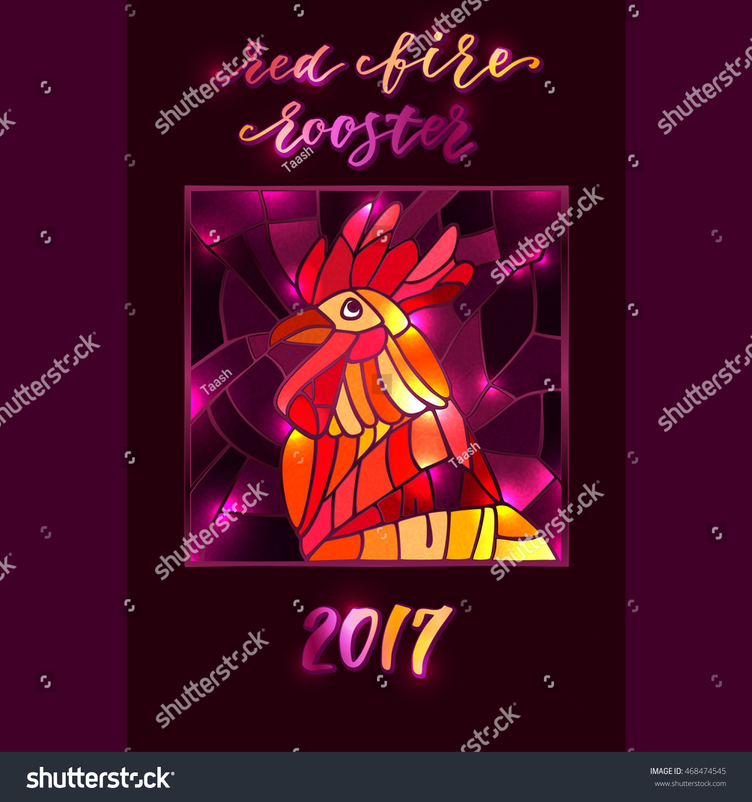 Red Fire Rooster Rooster Year Chinese Stock Photo Photo Vector