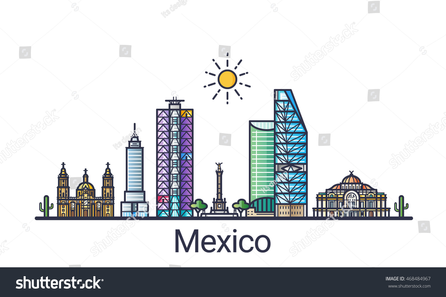Banner Mexico City Skyline Flat Line Vectores En Stock