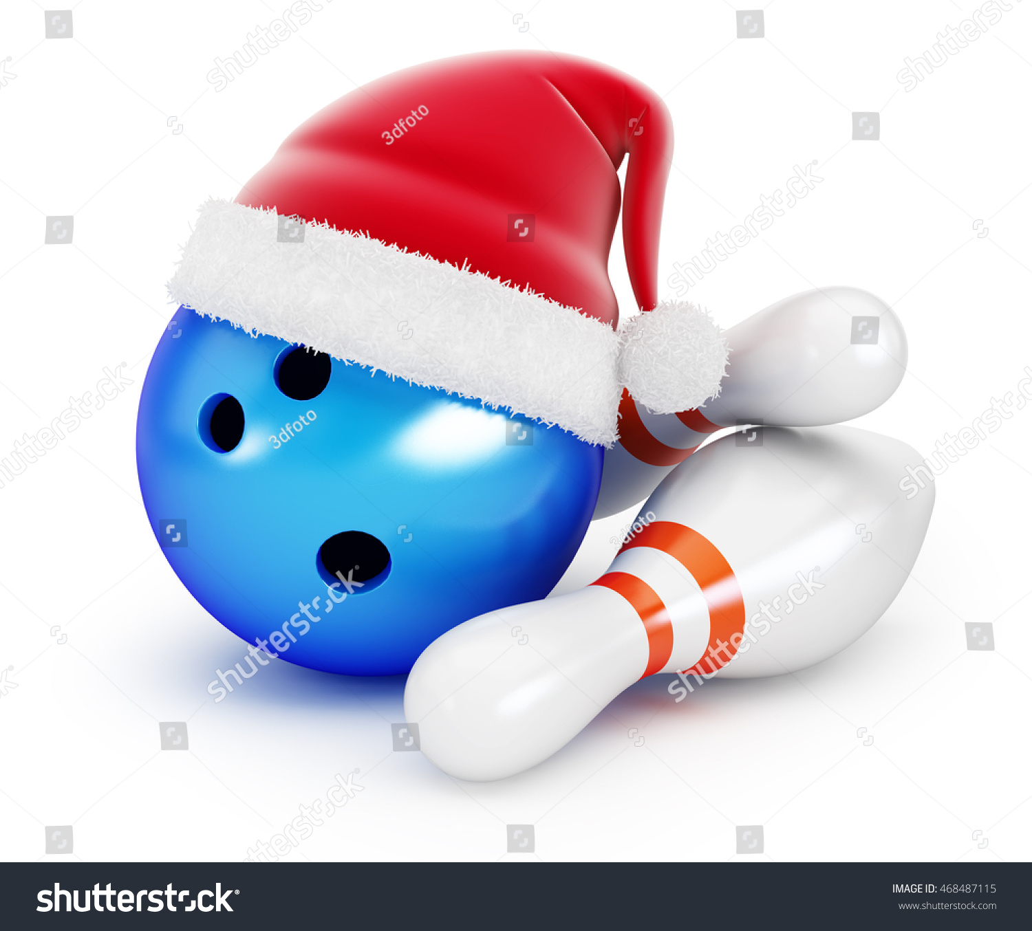 bowling ball santa hat on black stock illustration. Black Bedroom Furniture Sets. Home Design Ideas