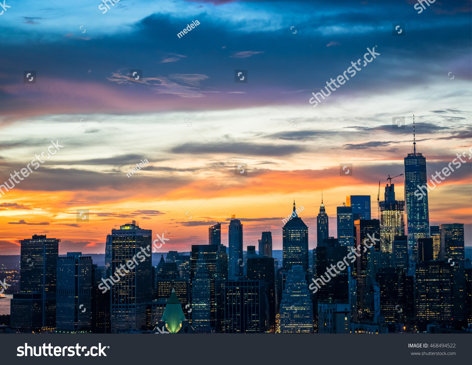 New york city beautiful sunset over stock photo 468494522 for New york city beautiful