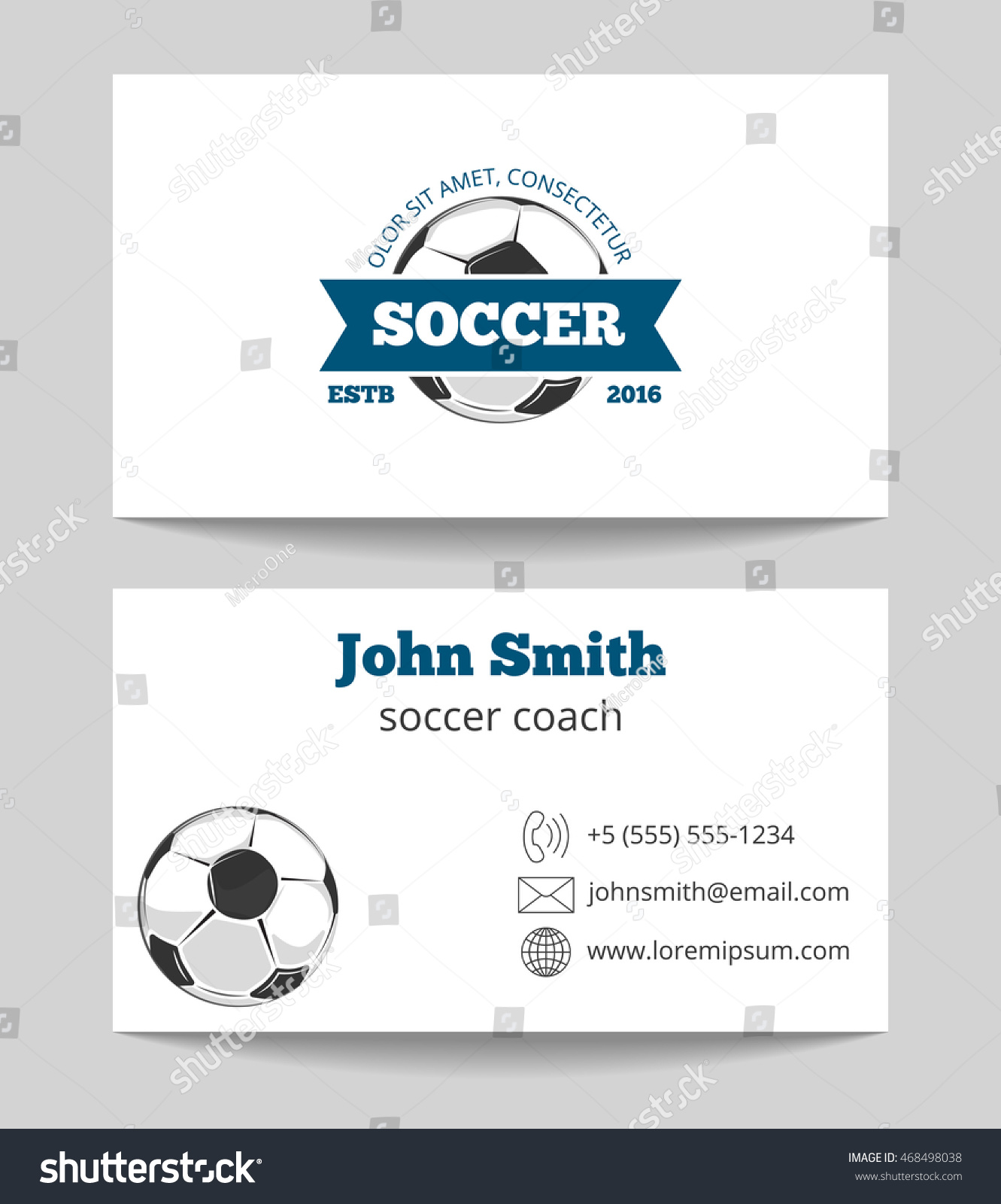 Soccer Business Card Both Sides Template Stock Vector 468498038 ...