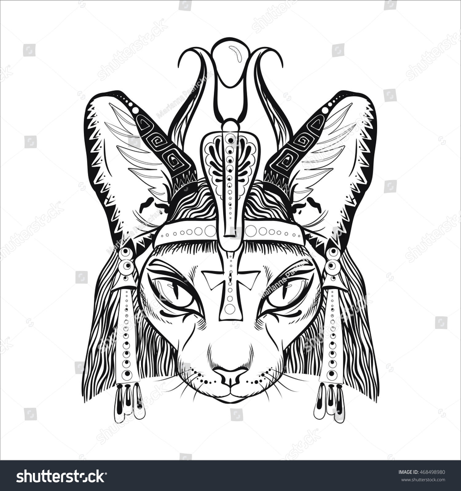Egyptian Cat Vector Illuatration Coloring Page