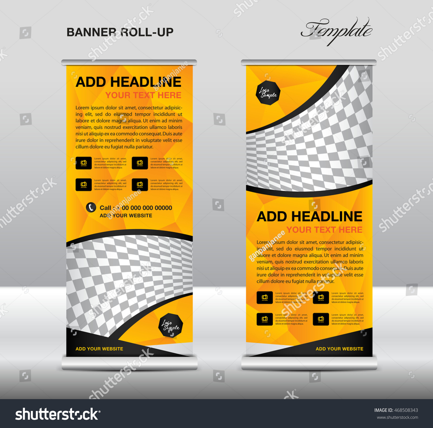 yellow roll up banner template vector roll up stand banner save to a lightbox