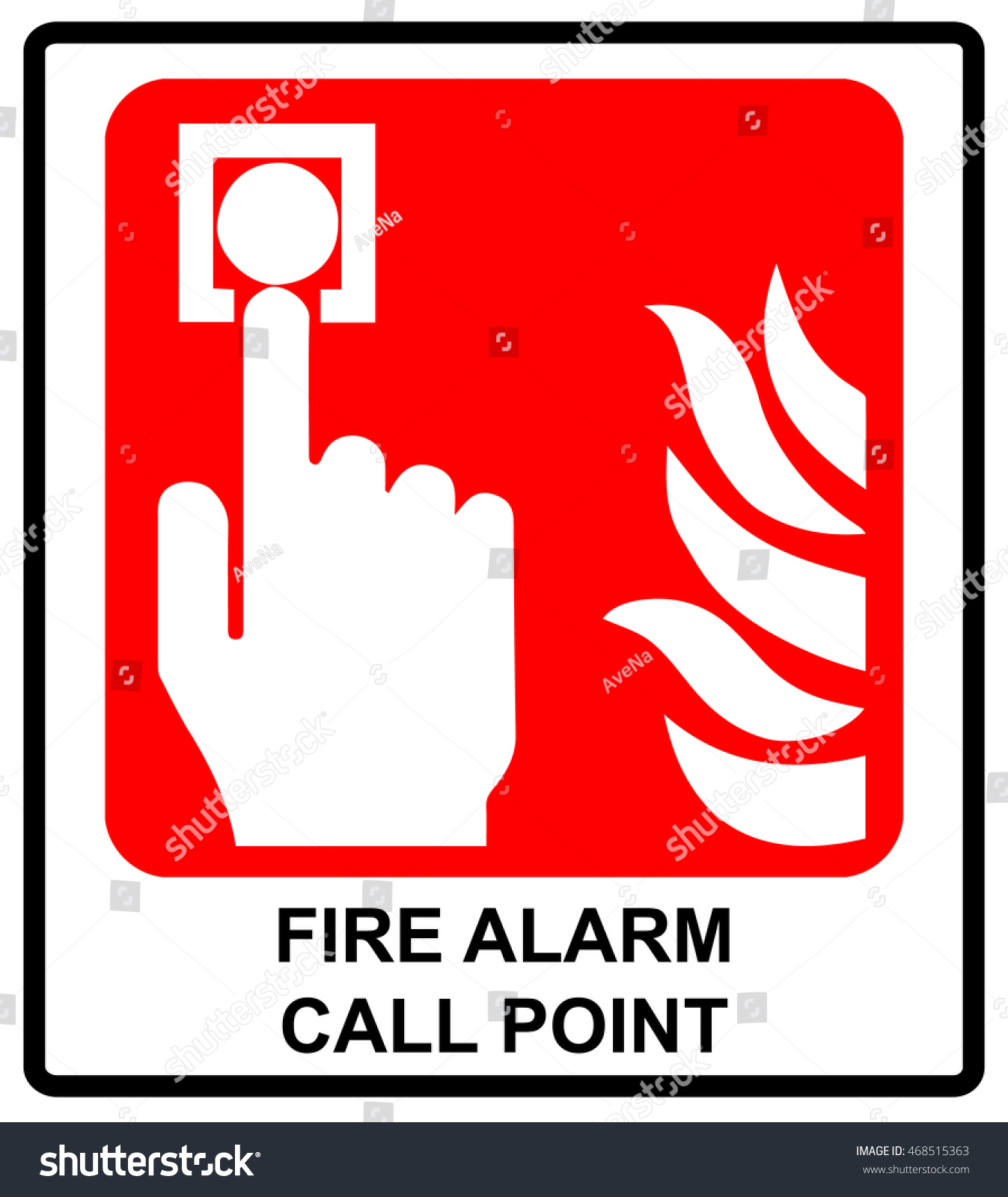 Fire alarm call point vector symbol stock vector 468515363 vector symbol for emergency sticker label for public places buycottarizona Images