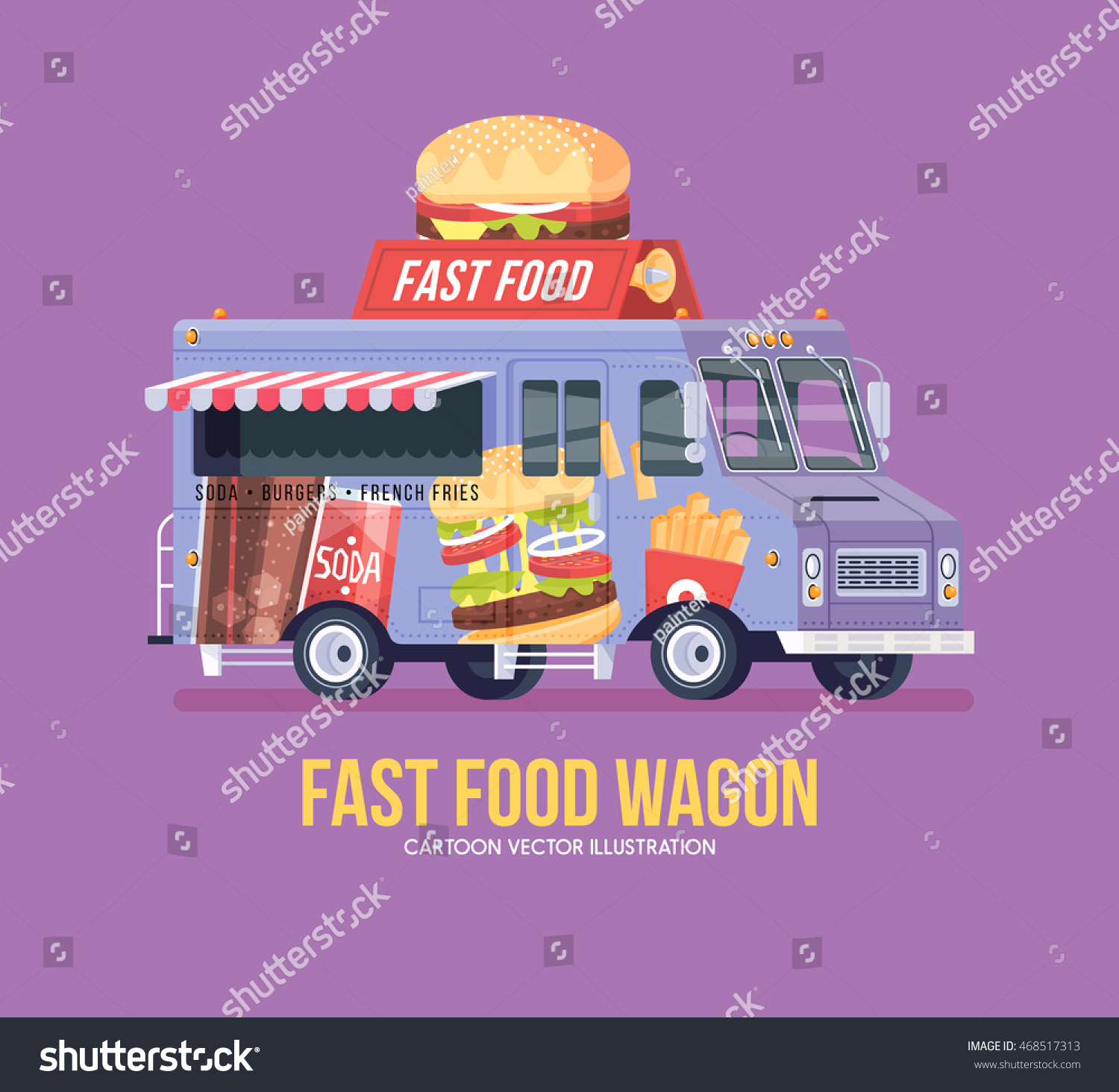 Colorful Vector Fast Food Truck Street Cuisine Burgers Sanwiches French Fries