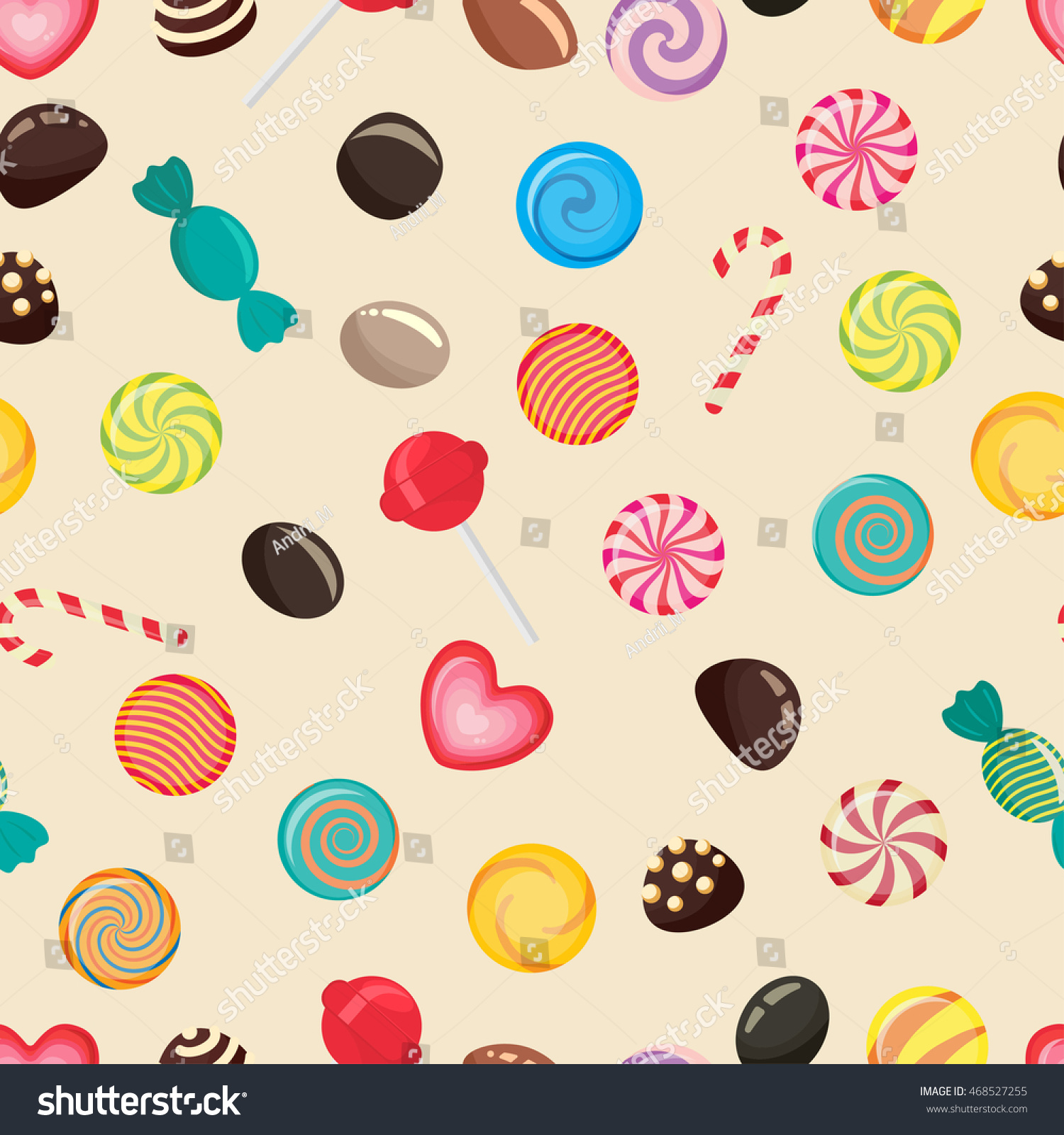 Sweet Candy Seamless Pattern Caramel Lollipop Stock Vector ...