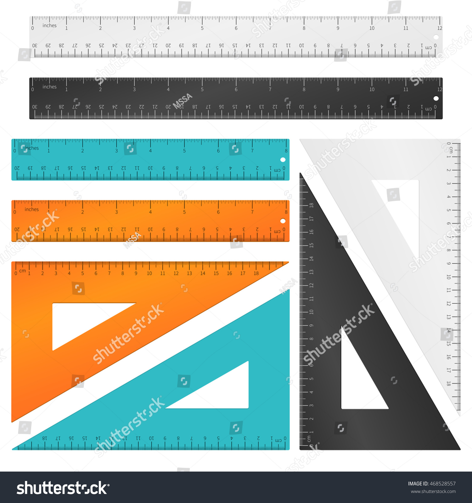 Rulers triangle inches centimeters millimeters scale stock vector rulers and triangle with inches centimeters and millimeters scale tool education measurement instrument buycottarizona