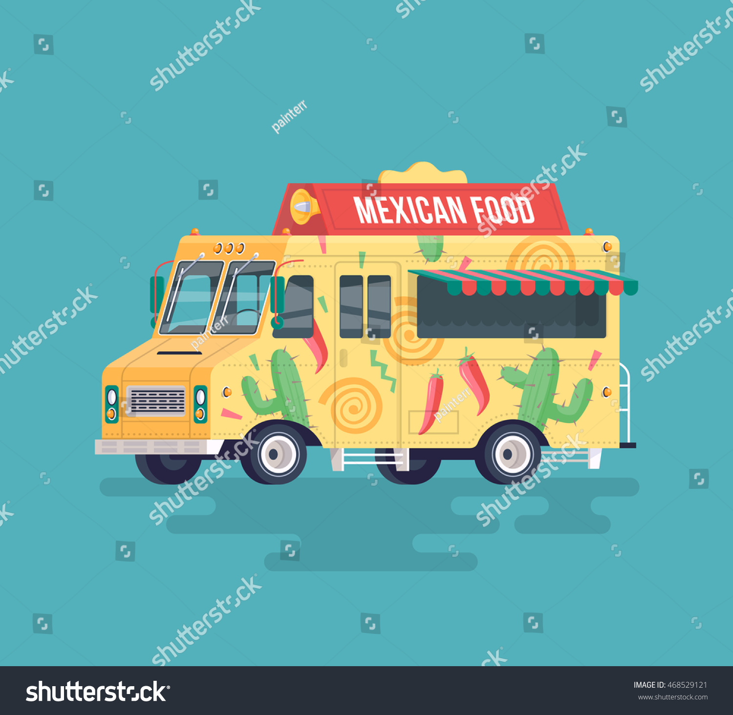 Vector Colorful Flat Mexican Food Truck Traditional Street Cuisine Cartoon