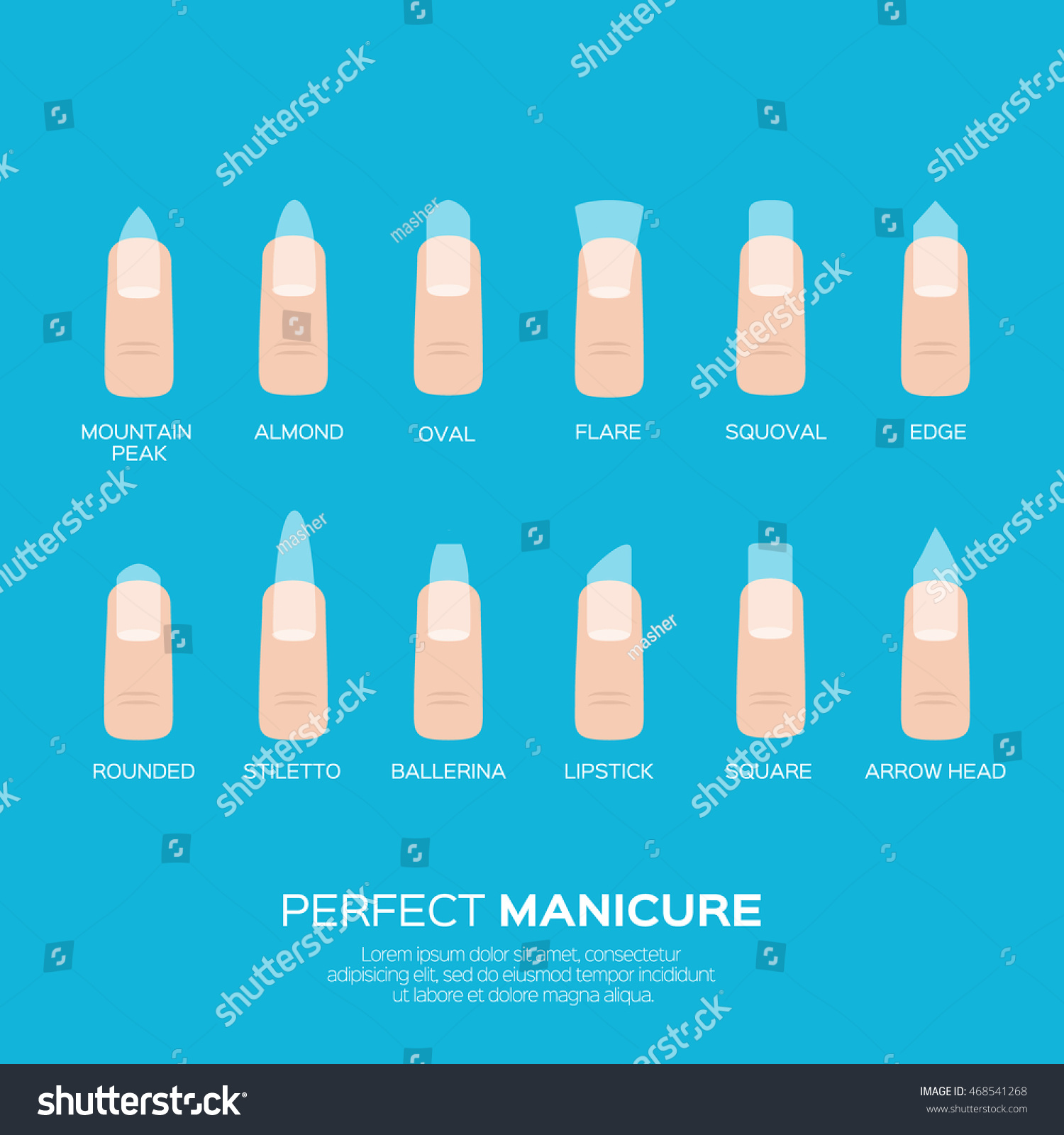Different Nail Shapes Woman Fingers Fingernails Stock Vector ...
