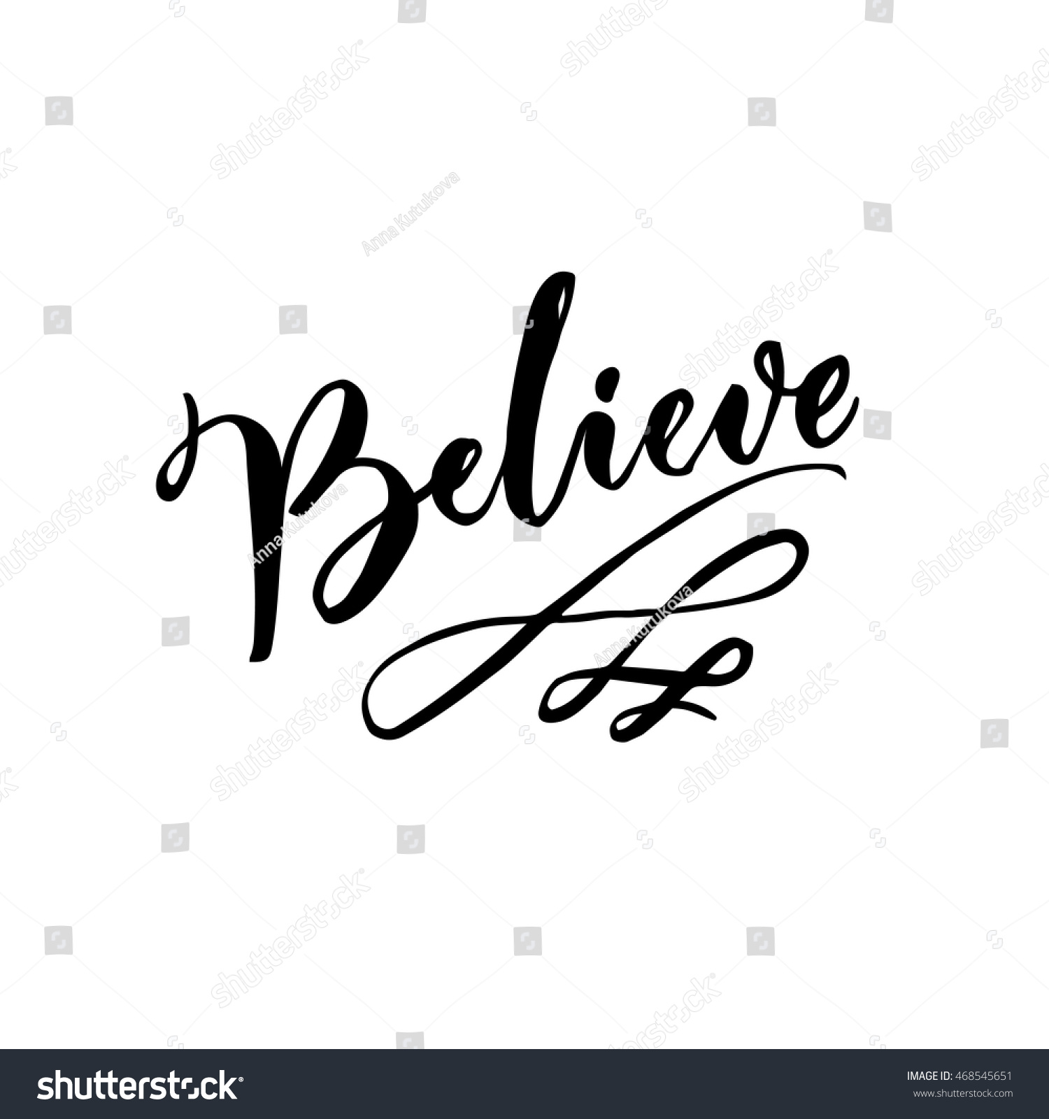 Believe word calligraphy text swashes stock vector