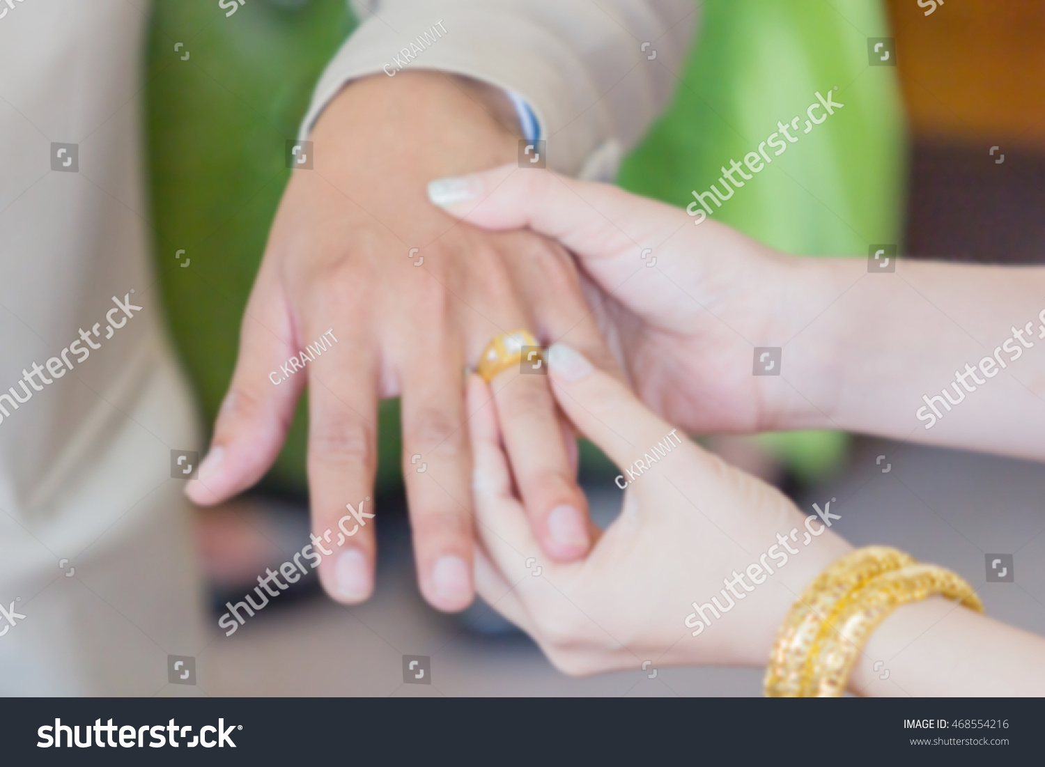 Thai Groom Wearing Wedding Ring His Stock Photo 468554216 Shutterstock