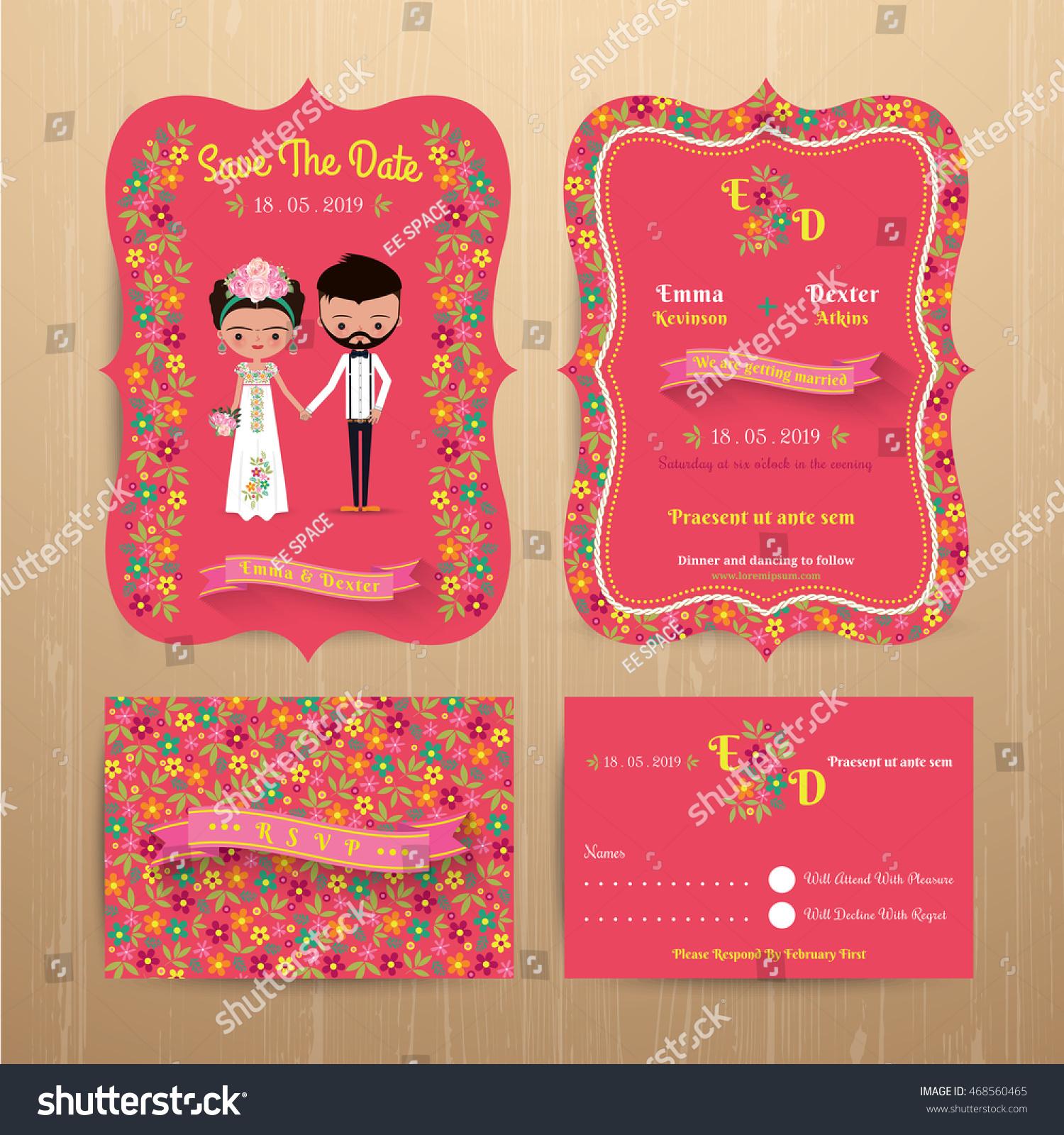 Bride Groom Rustic Floral Wedding Invitation Stock Vector (Royalty ...