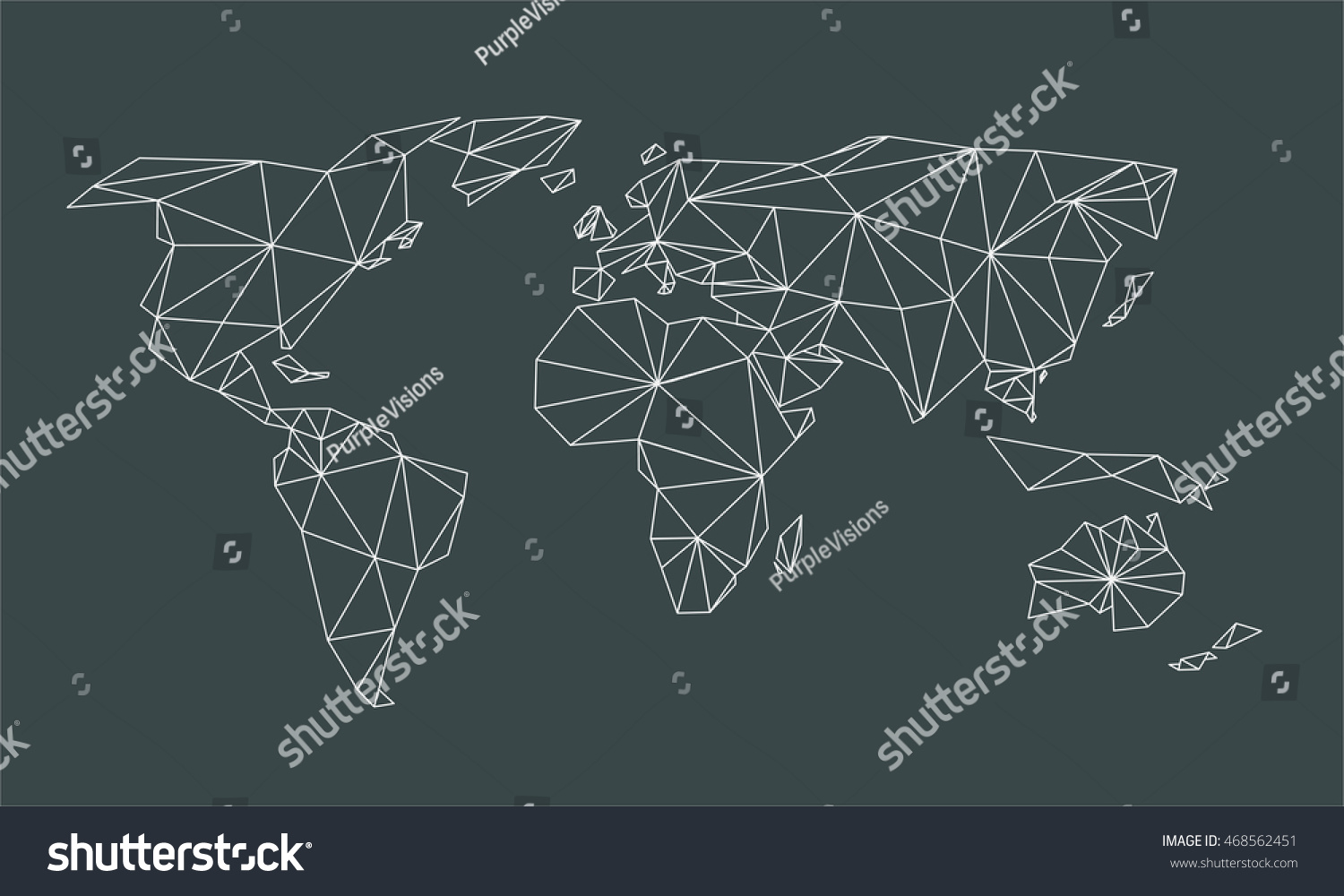Triangle line world map vector net stock vector 468562451 shutterstock triangle line world map vector net of white lines triangles on black background gumiabroncs Gallery