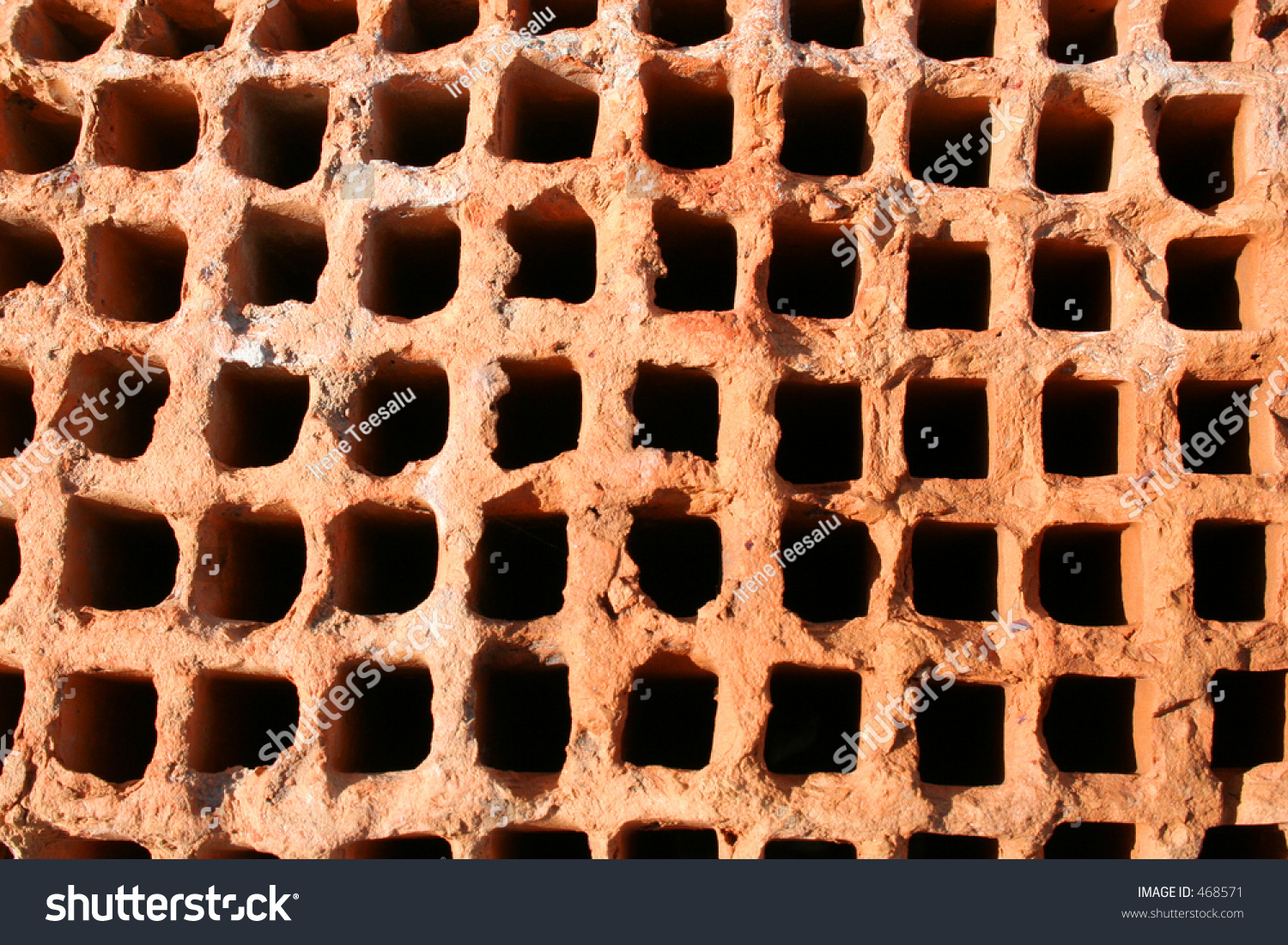 Red Brick Background With Holes