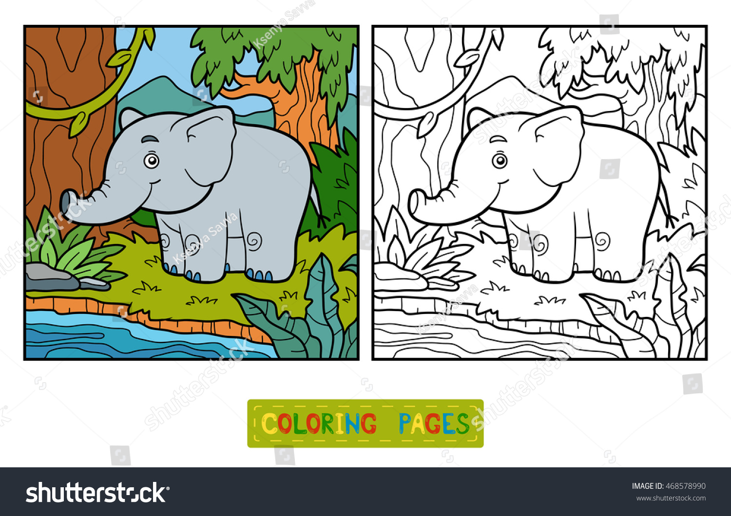 Coloring Book Children Elephant Background Stock Vector (Royalty ...
