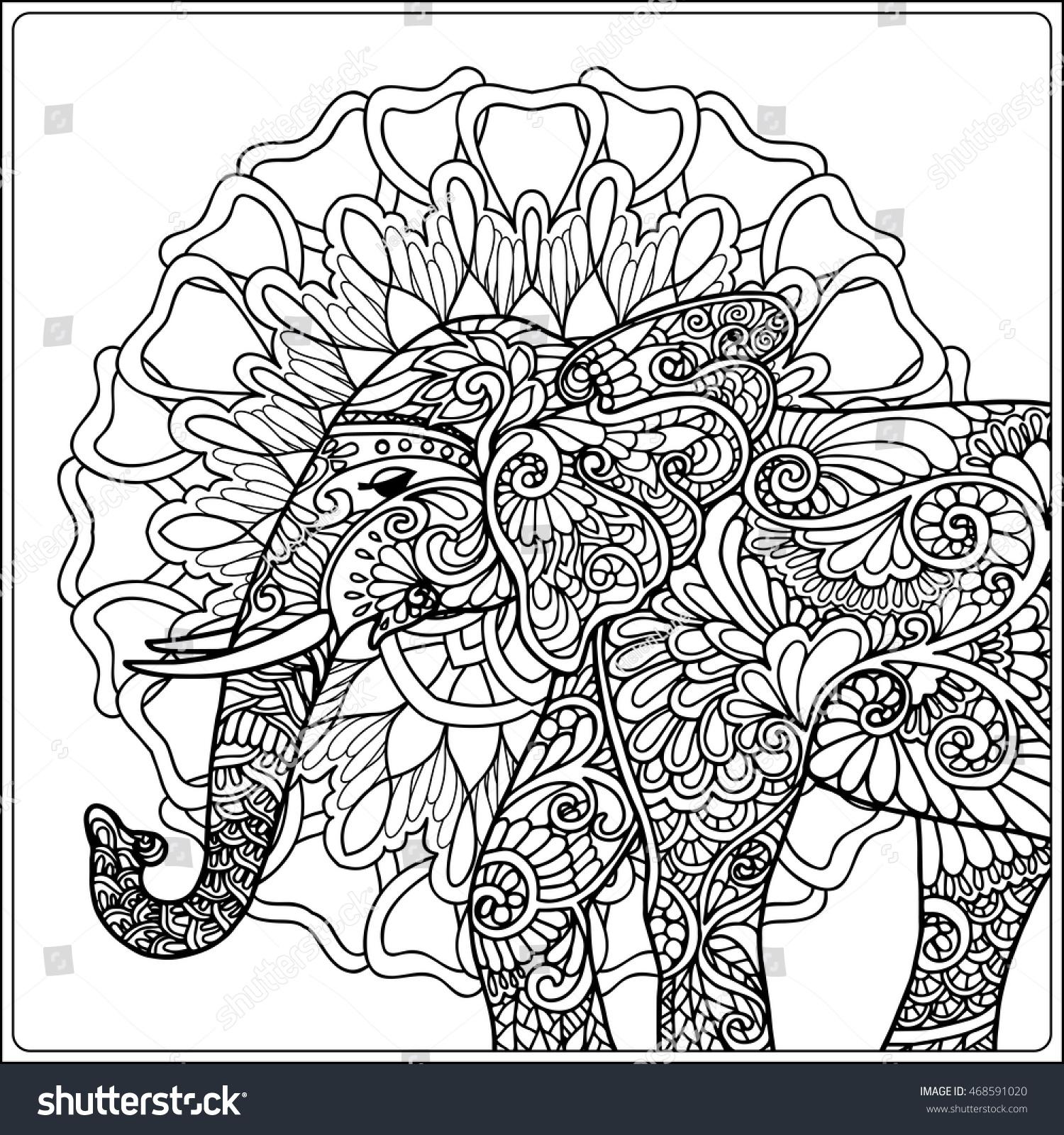 Coloring Page Elephant Decorative