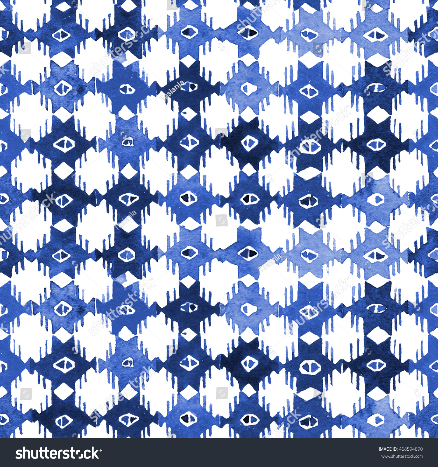 Watercolor Indigo Batik Shibori Pattern Traditional Stock