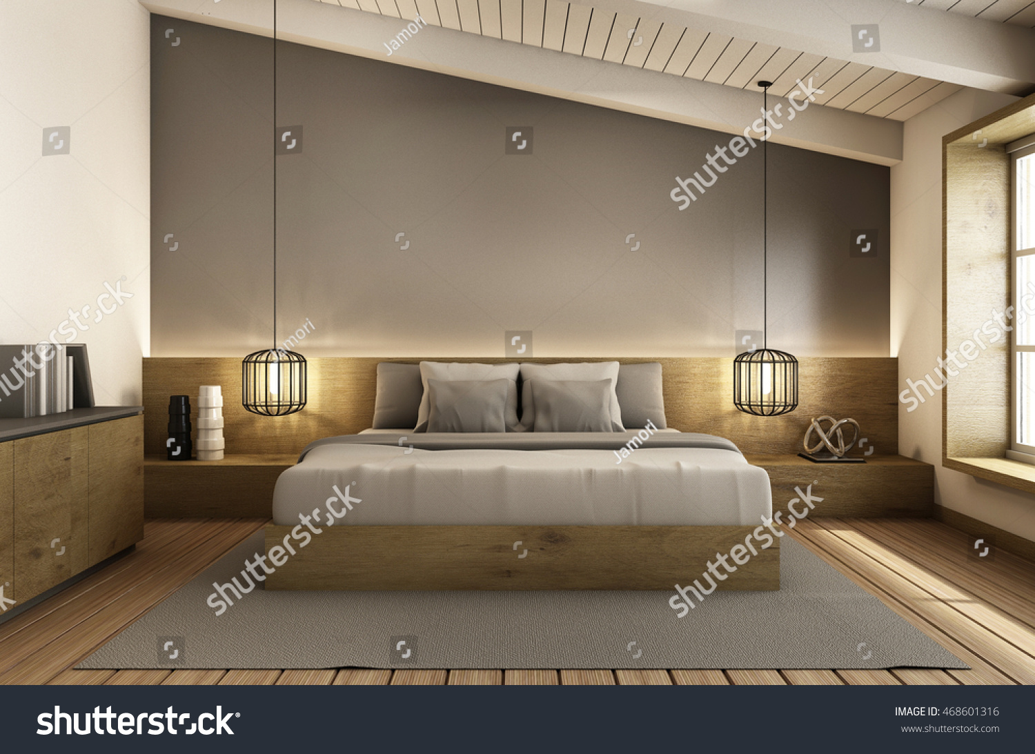 Bedroom Under Roof Interior Design Modern Stock Illustration 468601316