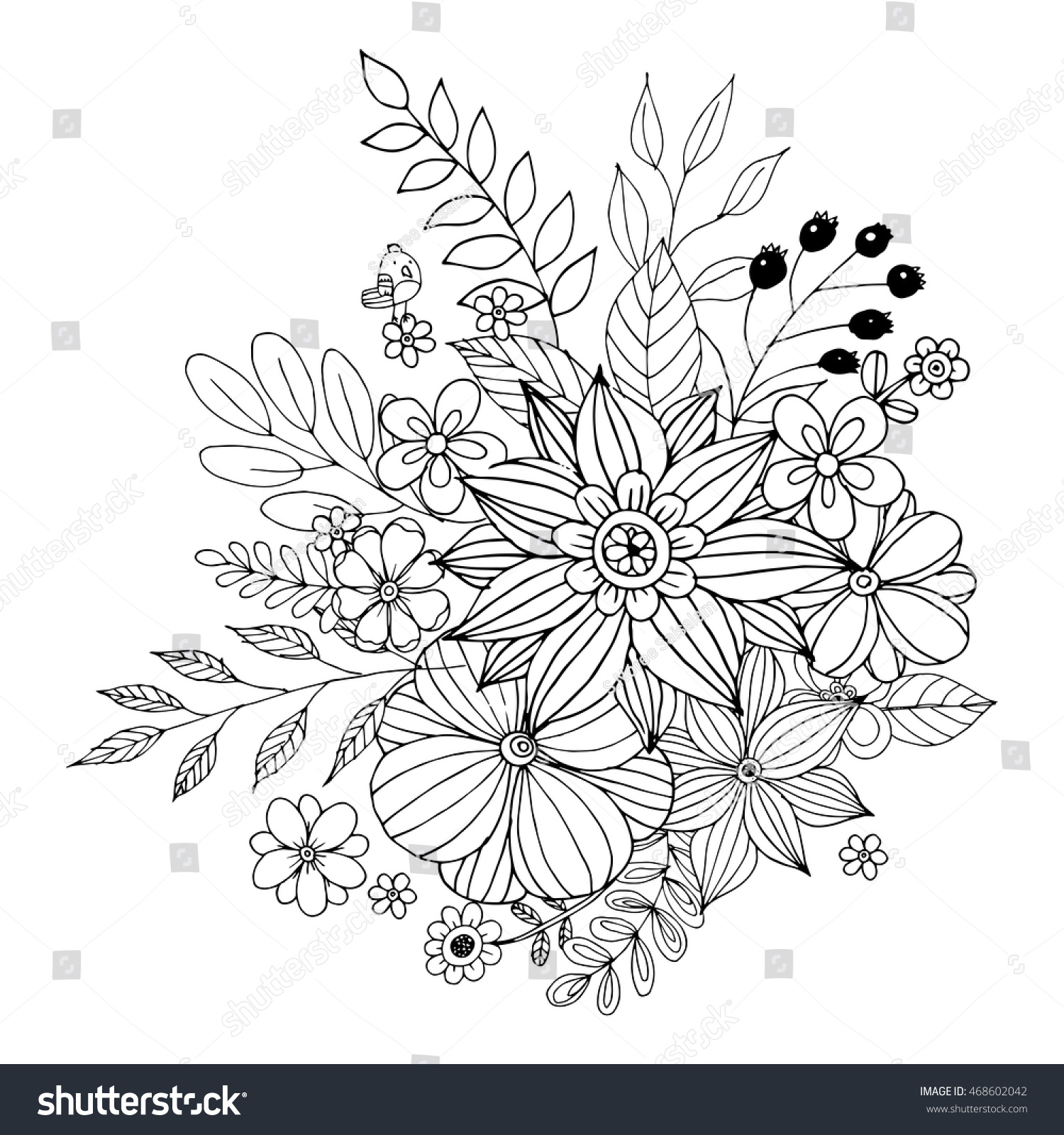 Flower Doodle Vector Coloring Page Doodle Stock Vector 468602042 ...