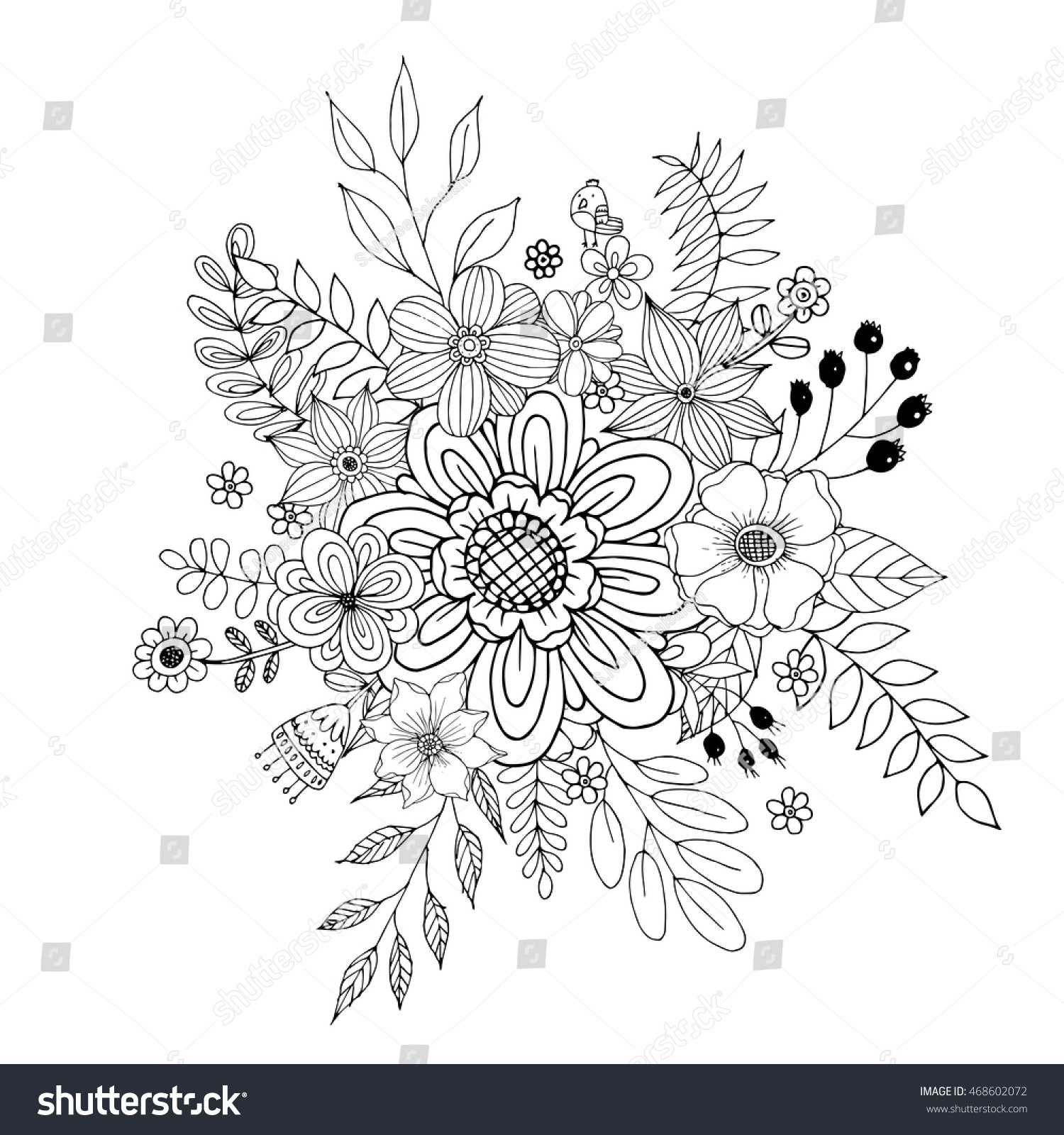 Flower Doodle Vector Coloring Page Doodle Stock Photo (Photo, Vector ...