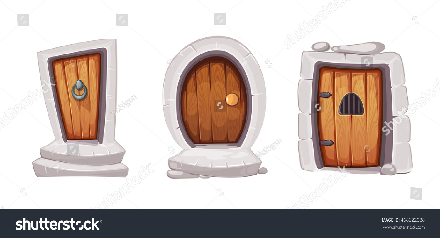 vector Illustration set of cartoon medieval doors and gate from wood. Pictures for 2D Ui  sc 1 st  Shutterstock & Vector Illustration Set Cartoon Medieval Doors Stock Vector ... pezcame.com
