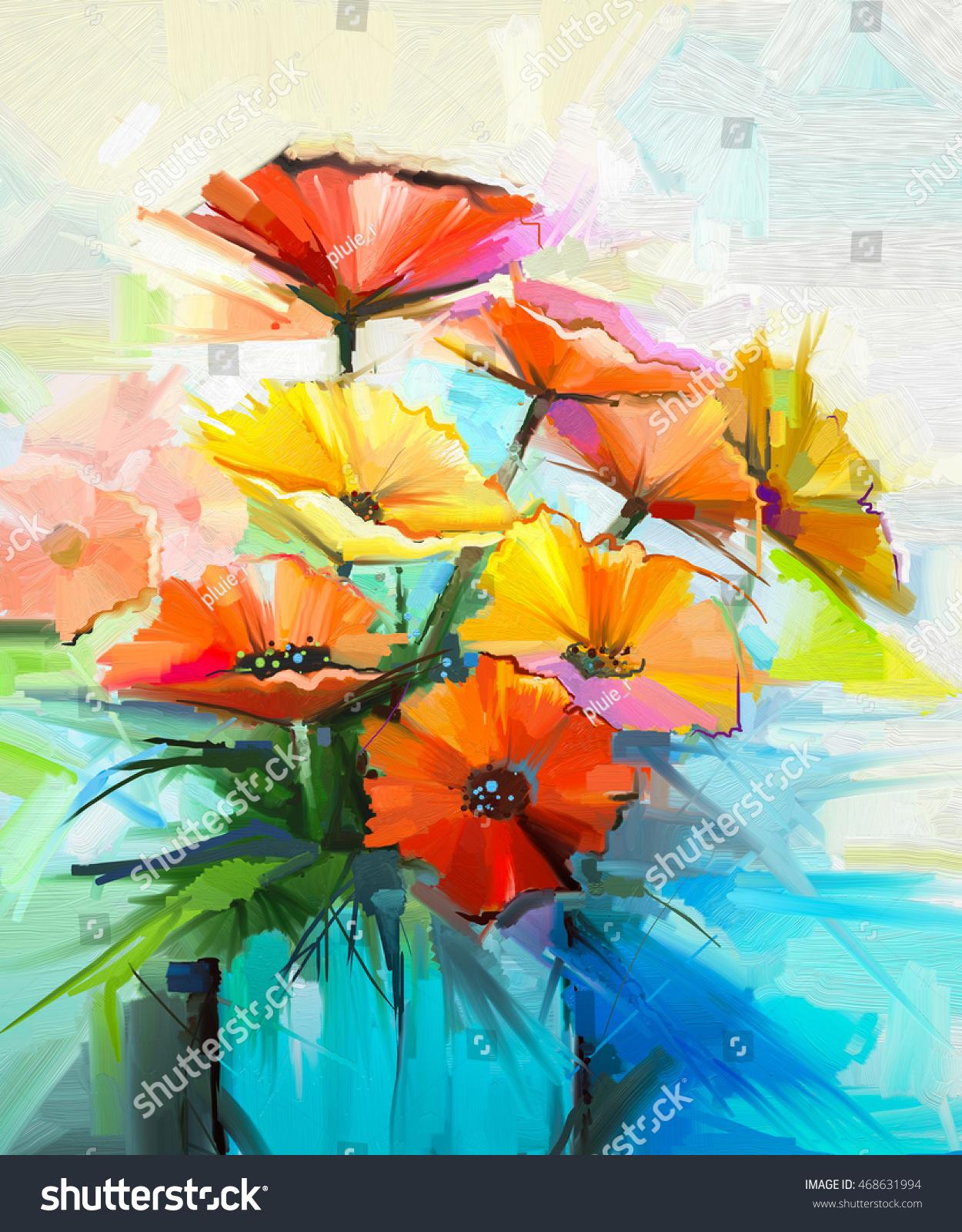 Oil Painting Spring Flower Background Still Stock Illustration