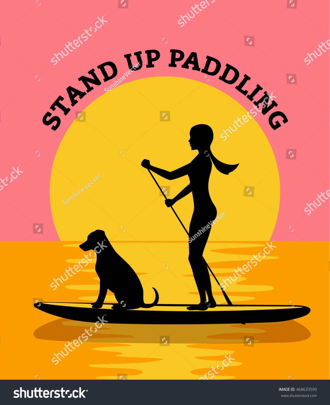 stand up paddle board sunset vector illustration woman and dog silhouette