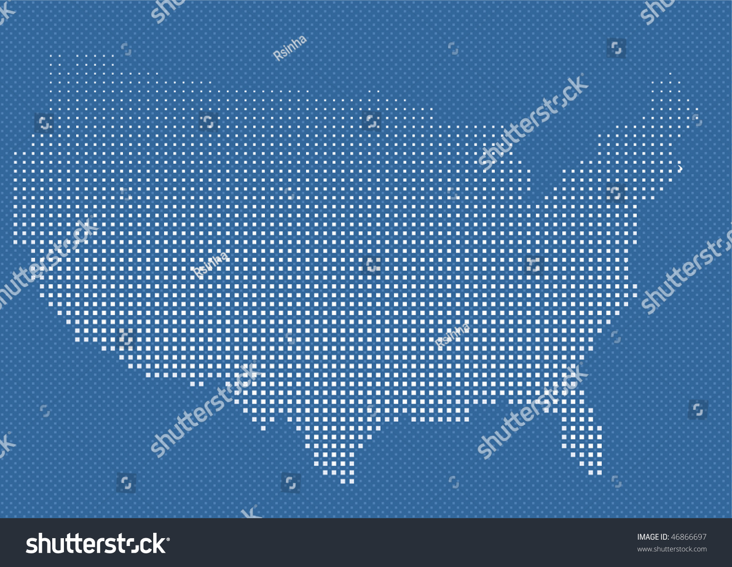 Usa Or Us American Map In Halftone