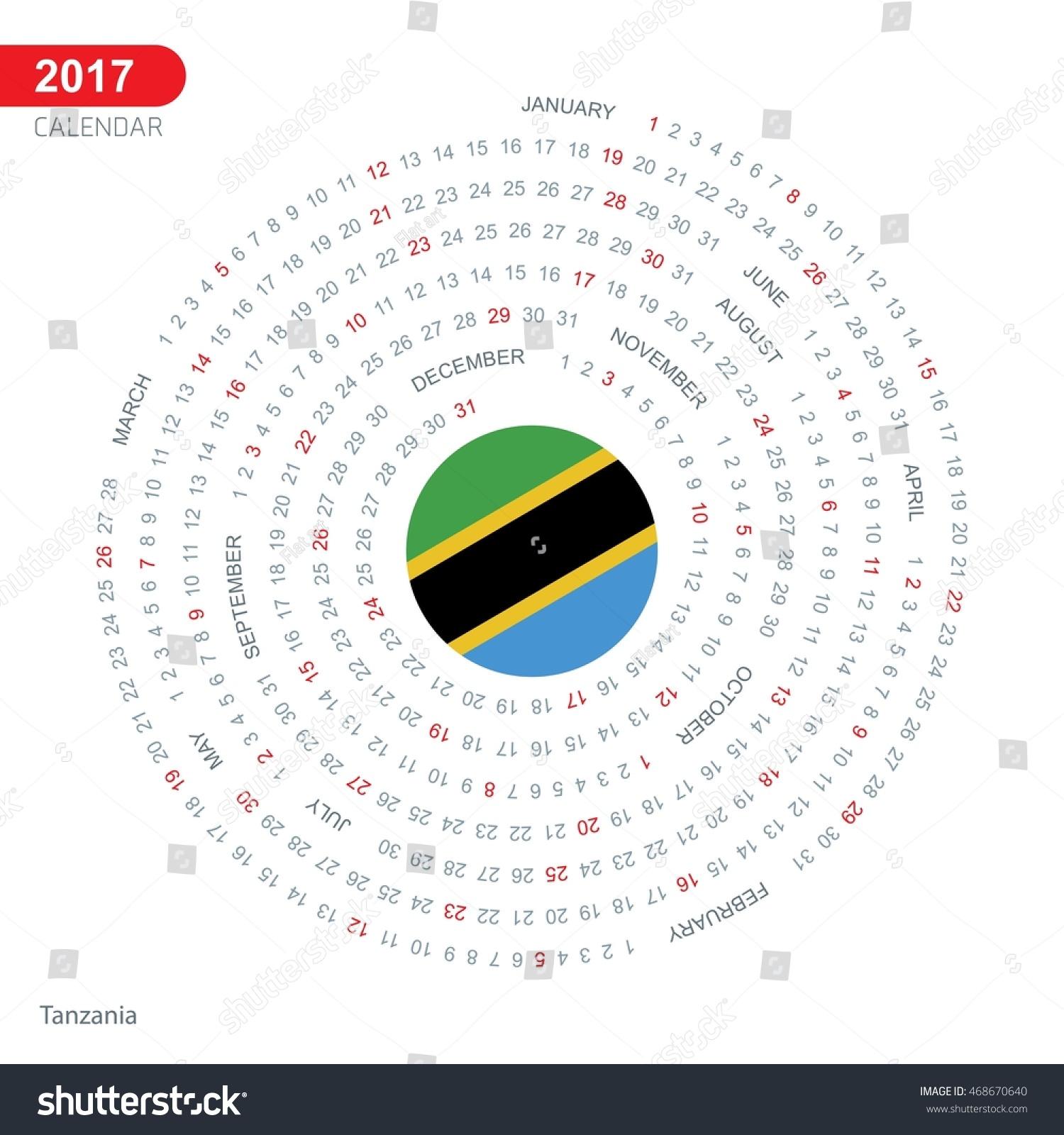 Calendar Illustration Search : Calendar tanzania country flag circle button spiral