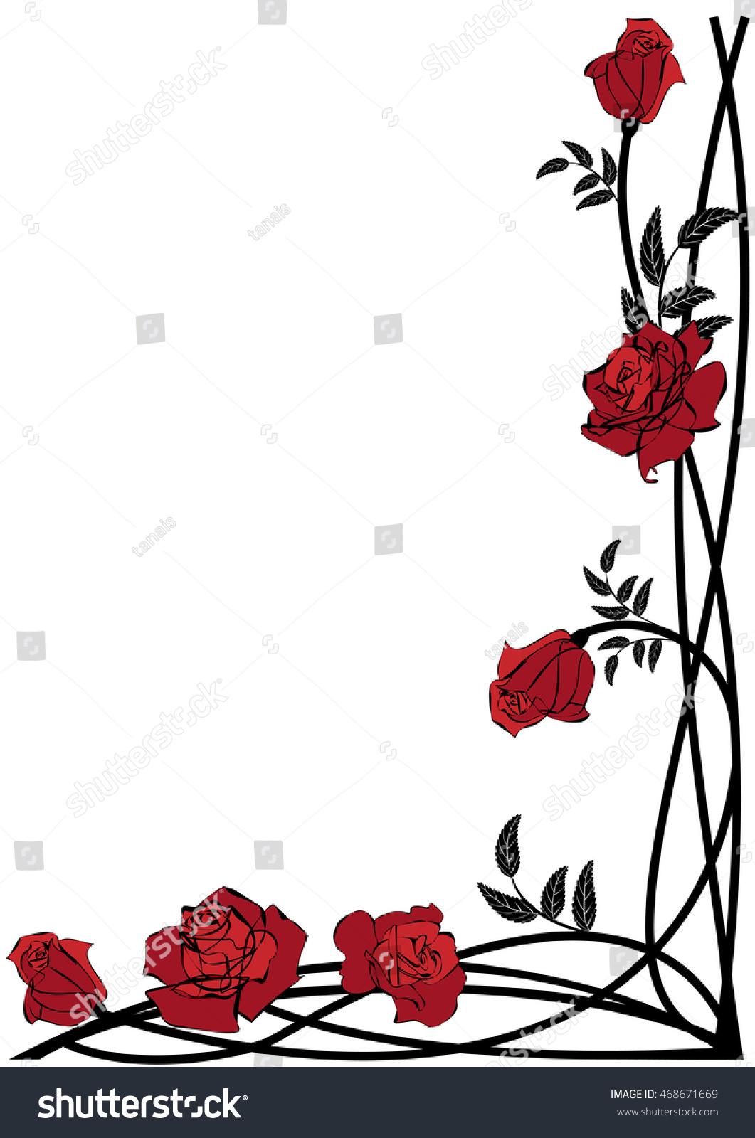 Vector Floral Border With Roses For Corner Design