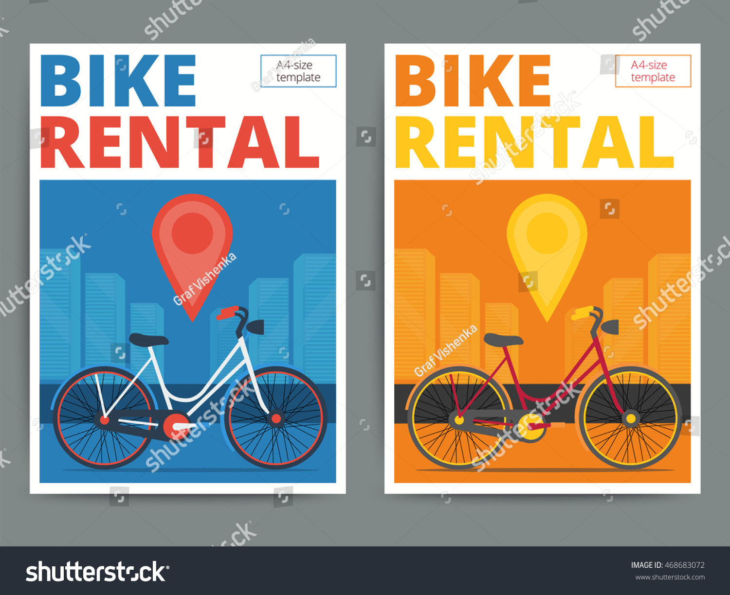 Poster design service - Trendy Bicycle Rental Service Poster Design Modern Vector Bike Hire Advertisement Flyer In A4 Size