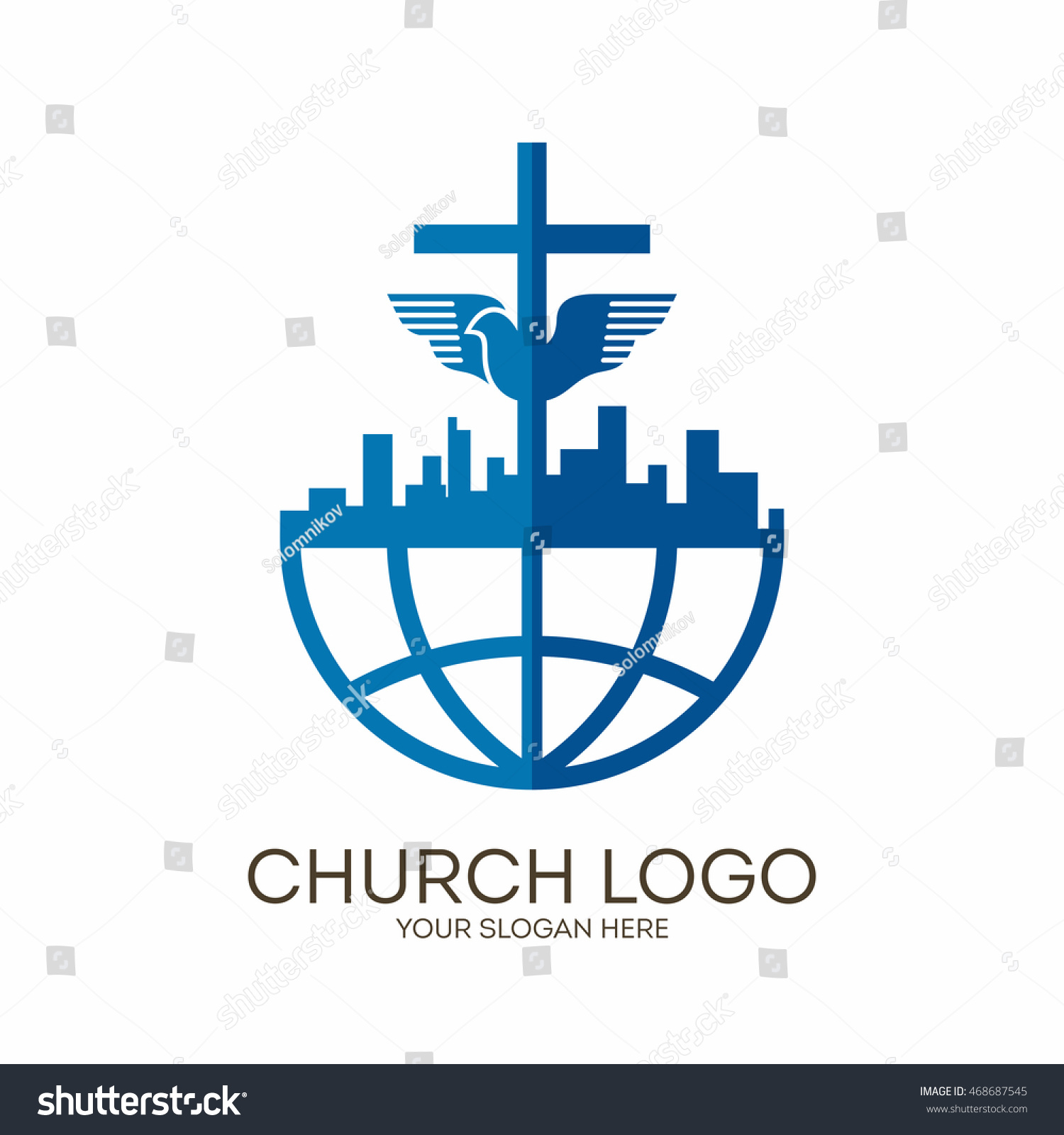 Church logo christian symbols city globe stock vector 468687545 church logo christian symbols city globe jesus cross and dove biocorpaavc