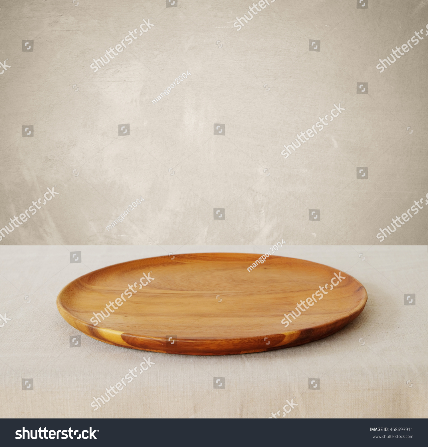 Empty Kitchen Wall Empty Round Wooden Tray On Linen Stock Photo 468693911 Shutterstock