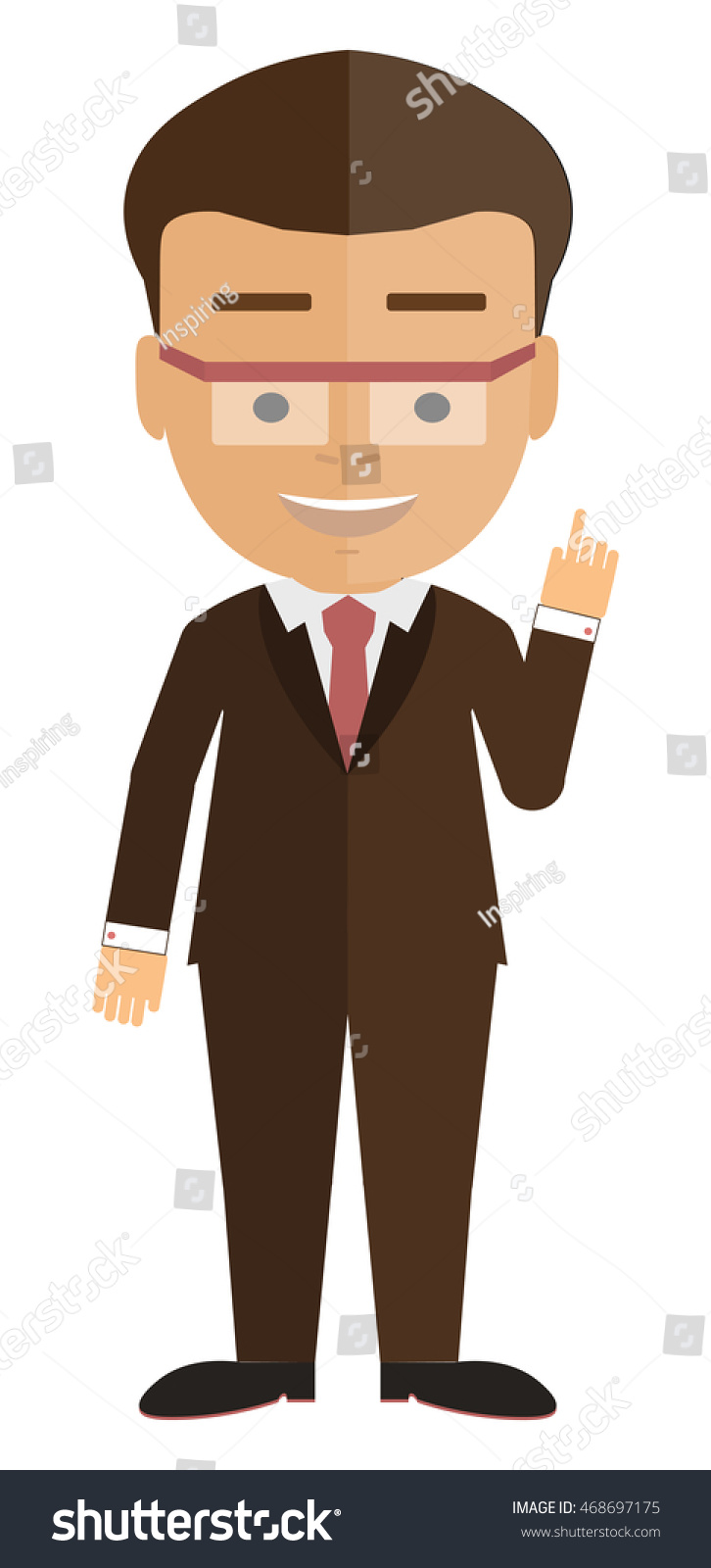 Isolated Cartoon Businessman White Background Consultant Colleague Jffice Worker Or Boss And