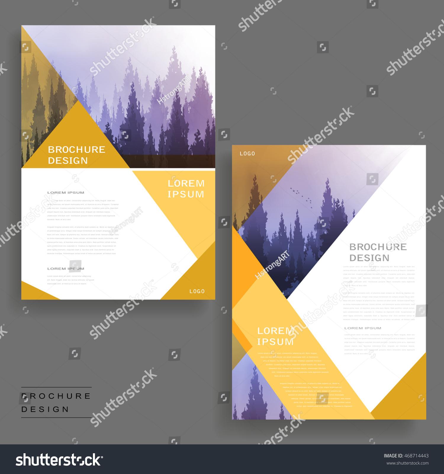 Elegant Brochure Template Design Foggy Woodland Stock Vector