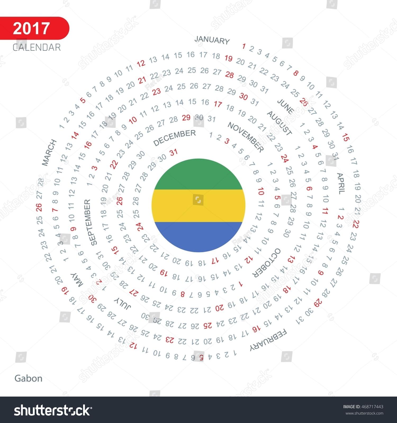 Calendar Illustrations : Calendar gabon country flag circle stock vector
