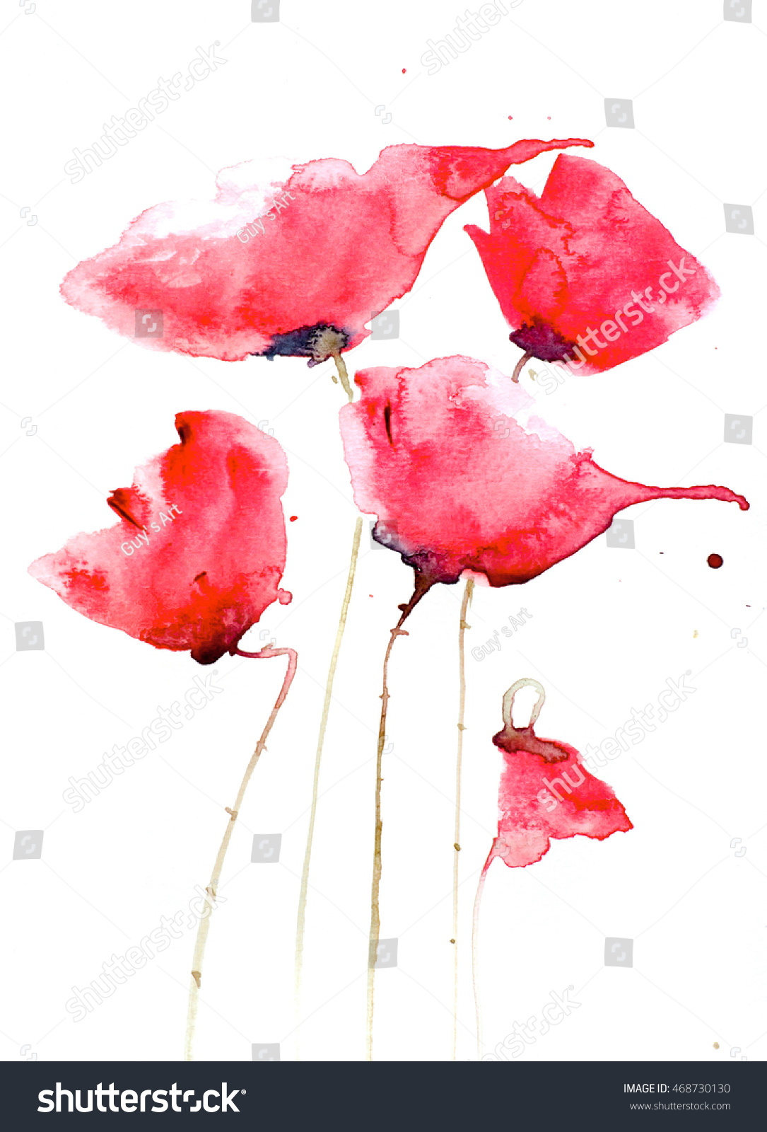 Red Poppy Flowers Watercolor Painting On Paper Ez Canvas