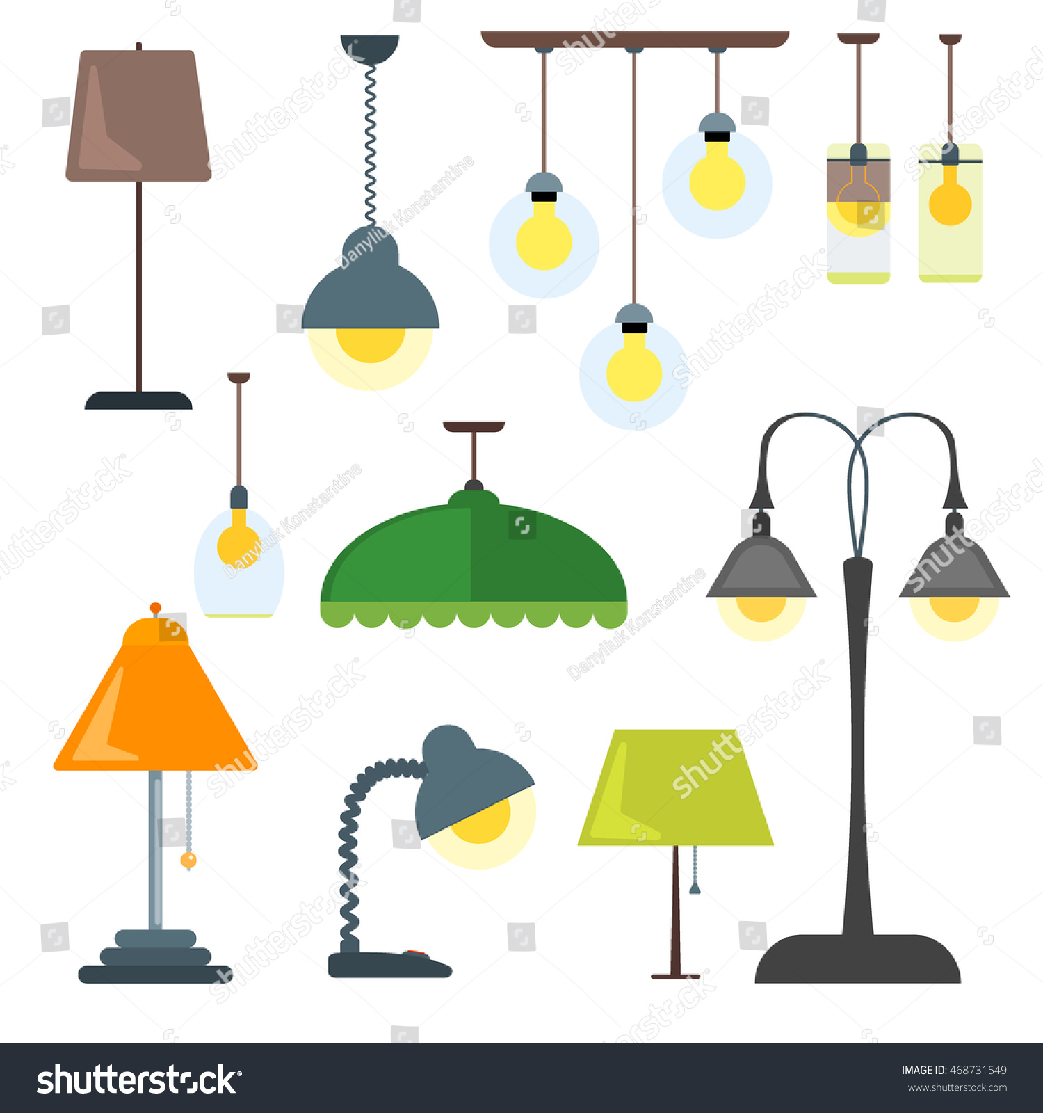 Set Of Lamps. Furniture And Floor Lamps And Table Lamps. Vector  Illustration Lamp Light