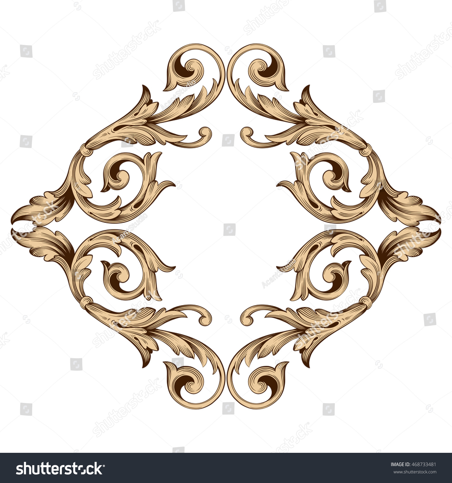 Vintage element engraving retro ornament pattern stock for Baroque architecture elements