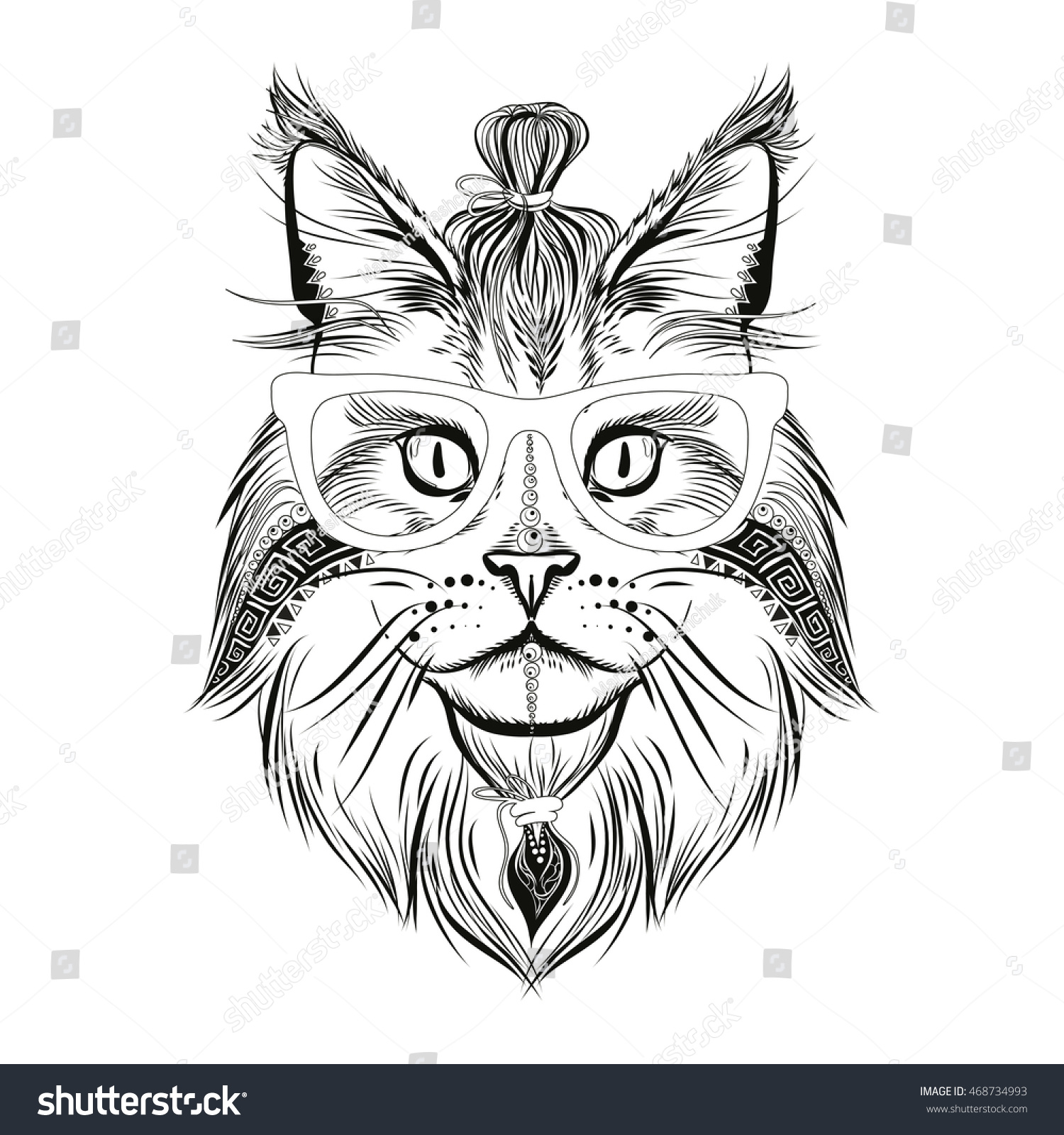 Hipster Cat, Animal Illustration, Coloring Page
