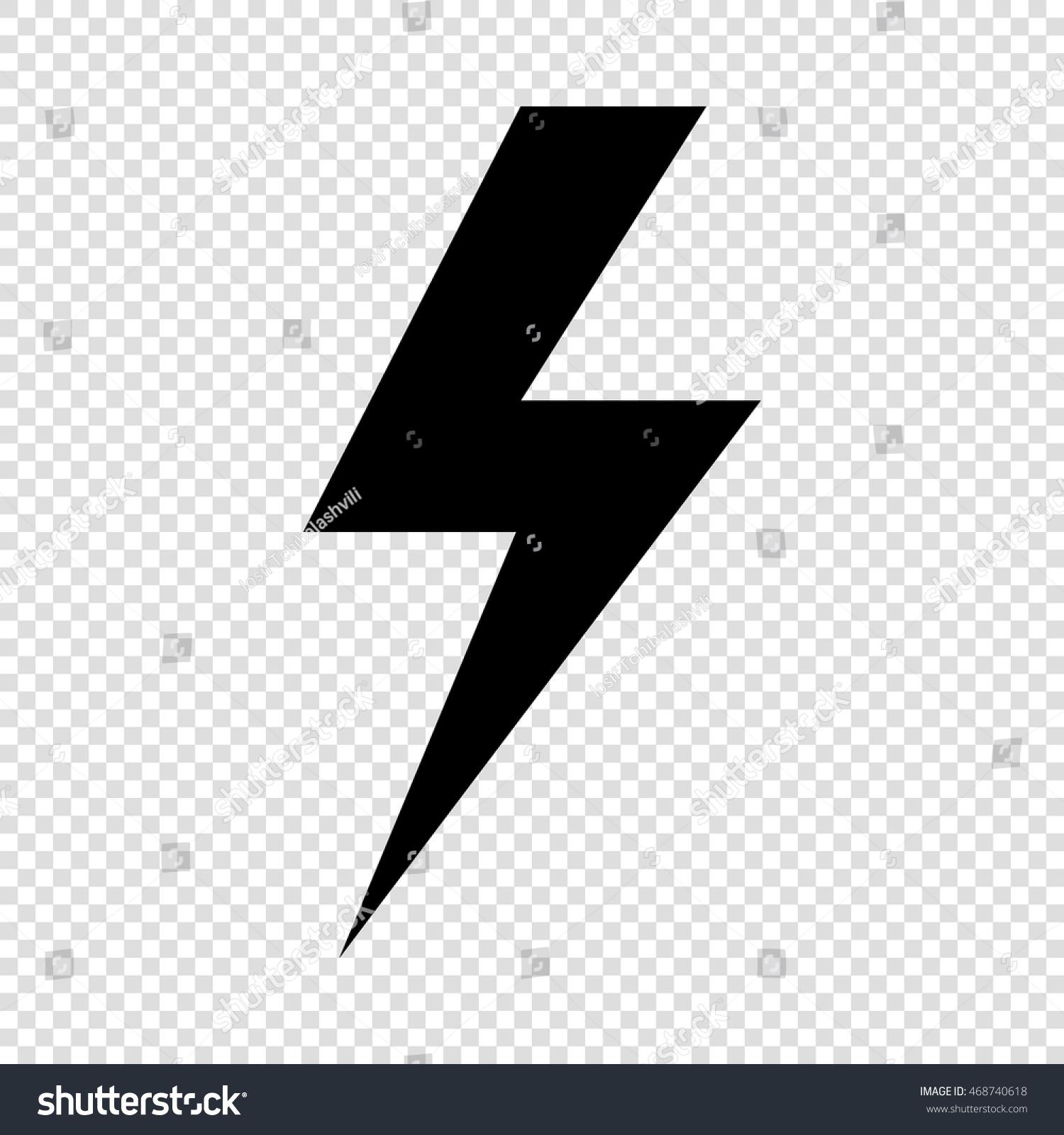 Lightning Flat Icons Set Black On Transparent Background