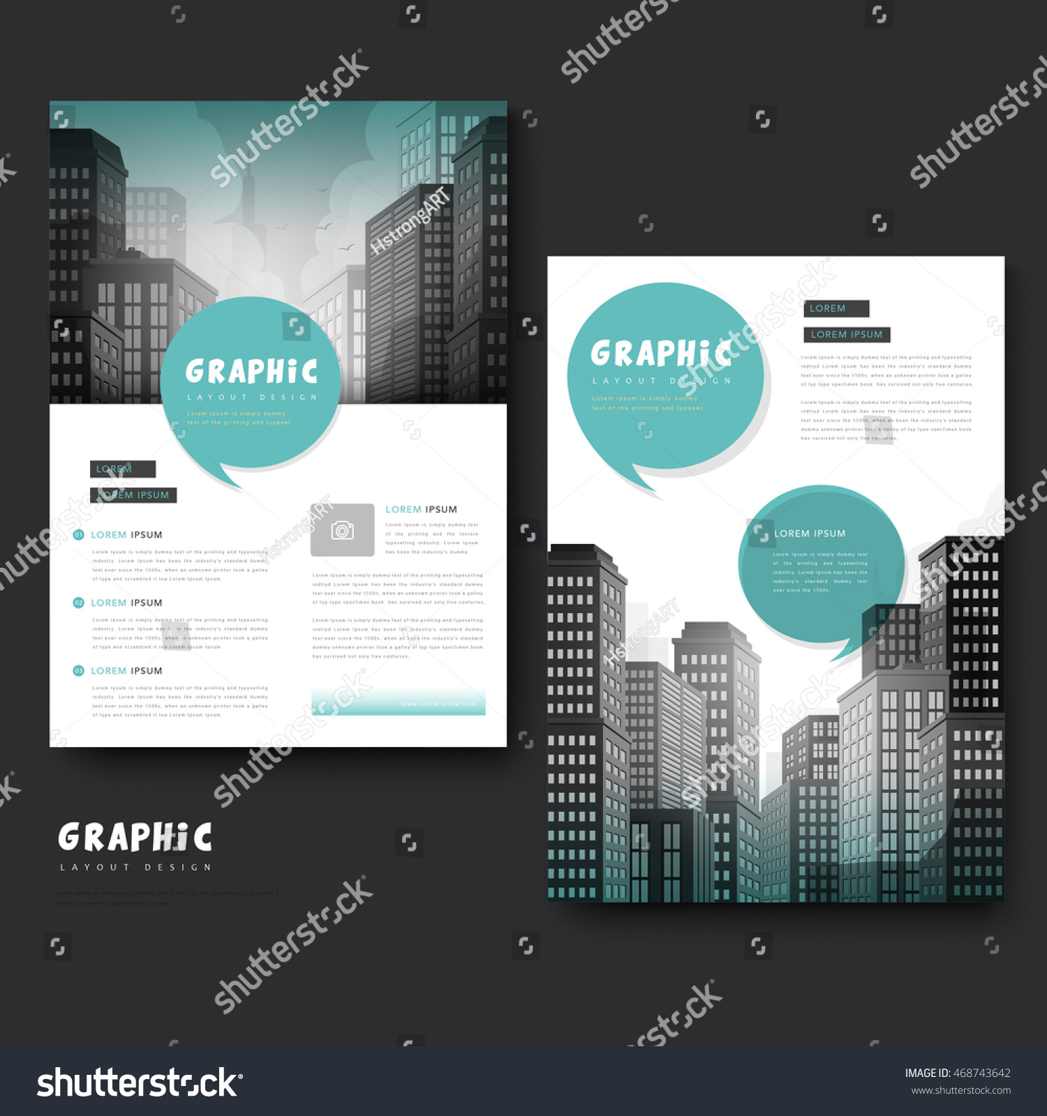 landscape brochure template - trendy brochure template design city landscape stock