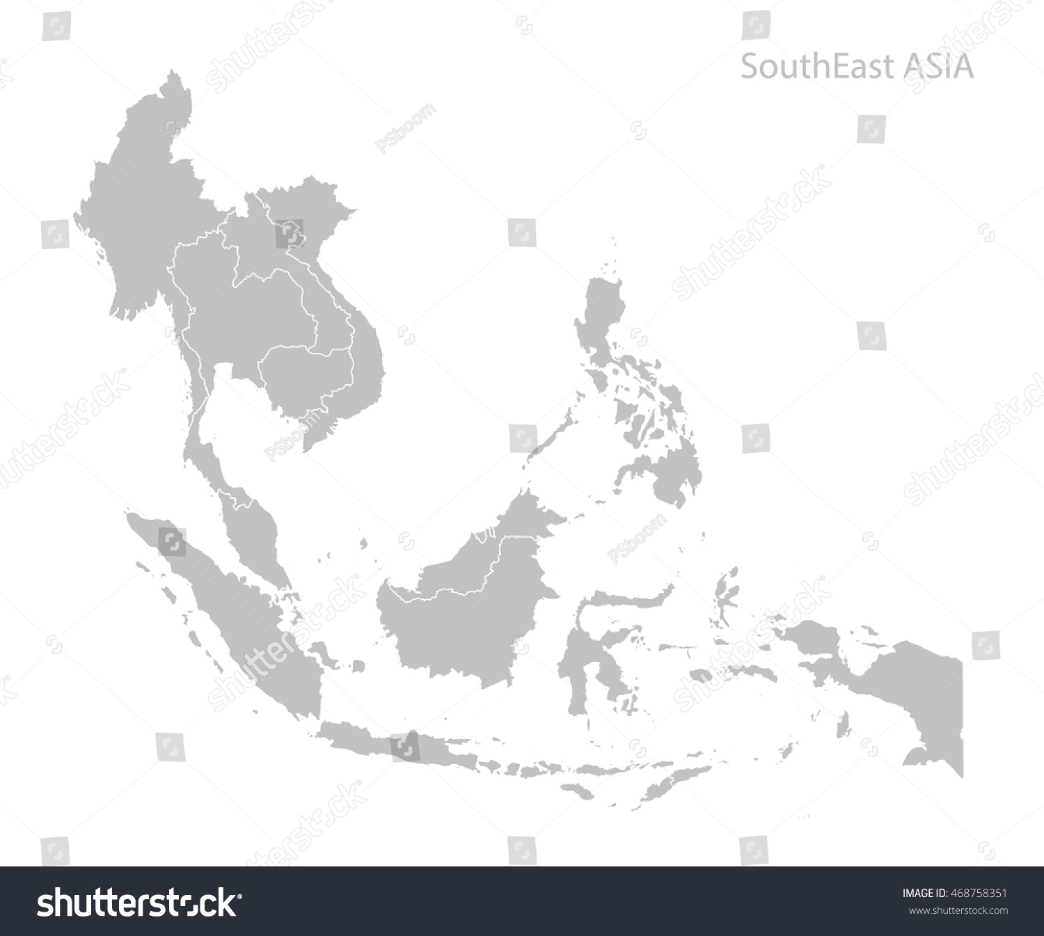 Map Southeast Asia Stock Vector (Royalty Free) 468758351