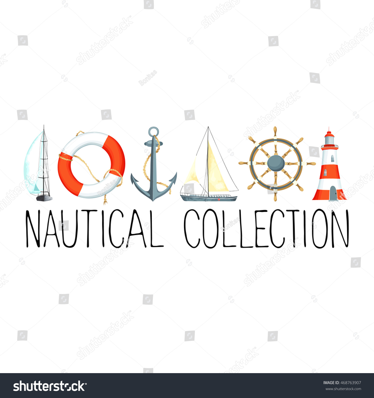 Banner headline nautical elements template text stock vector banner or headline with nautical elements template for text there are lighthouse sailboat pronofoot35fo Choice Image
