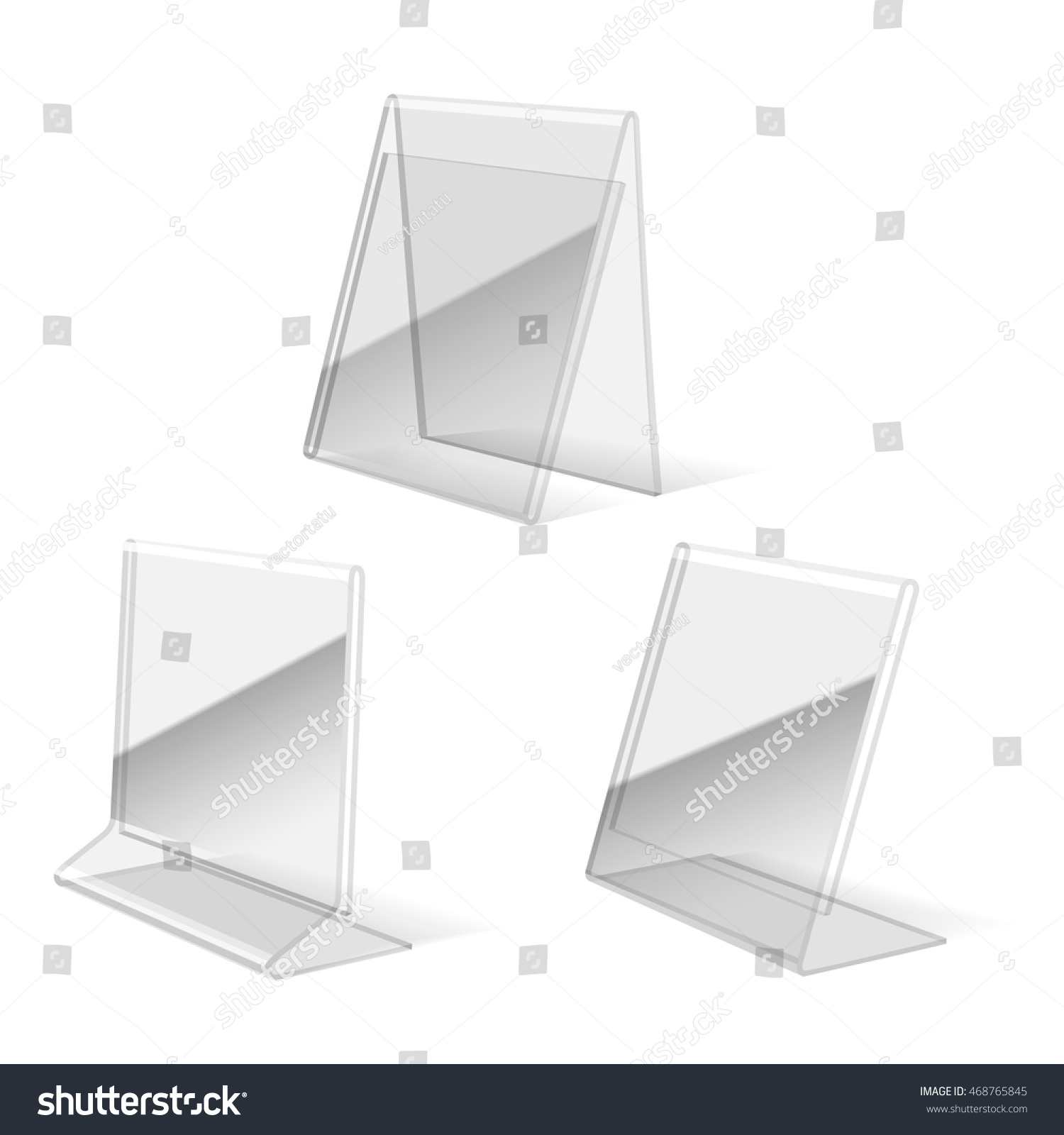 clear plastic holder paper business card stock vector