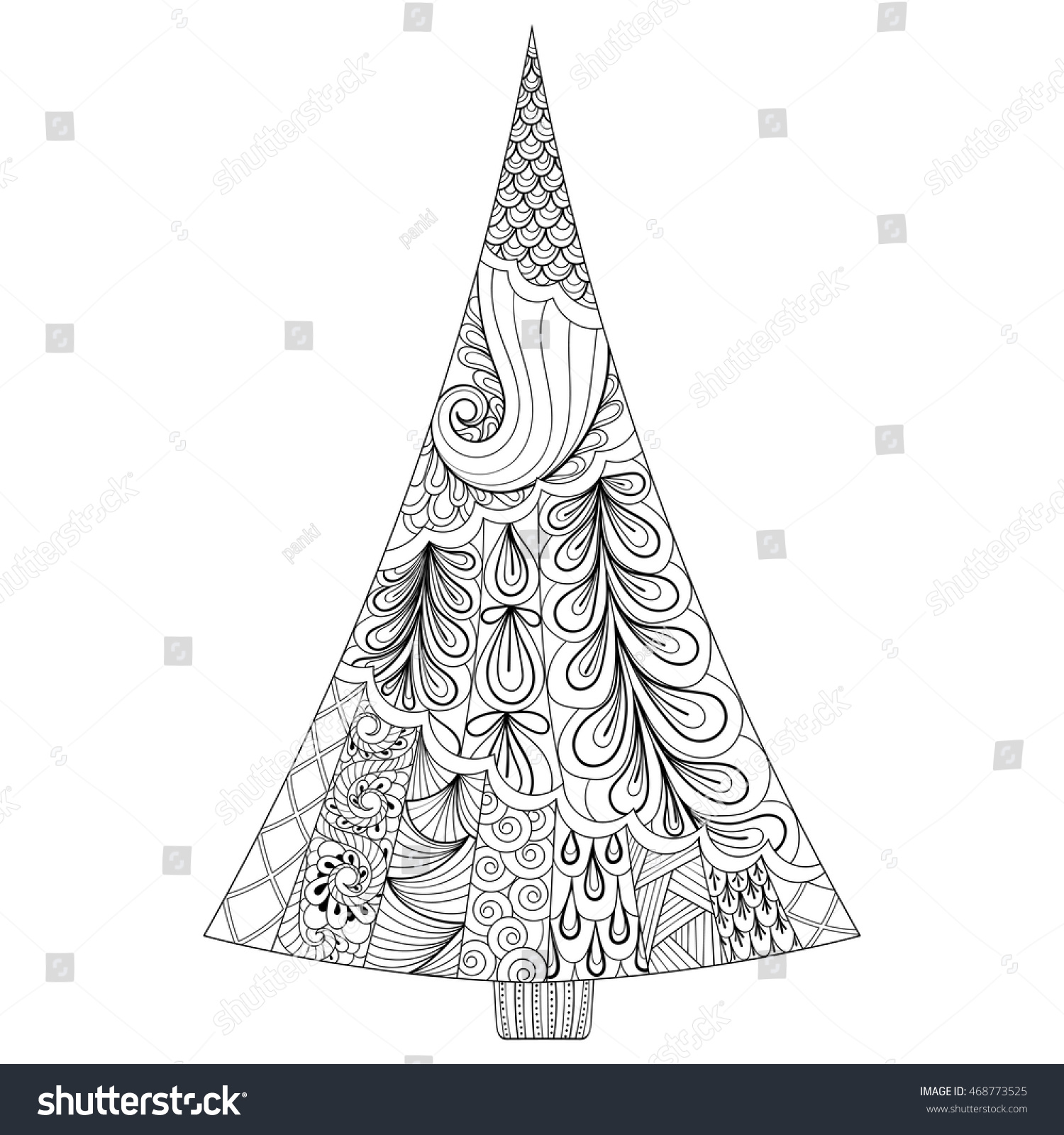 Zentangle Stylized Christmas Tree Freehand Ethnic Vector Illustration For Adult Coloring Pages Holiday Concept