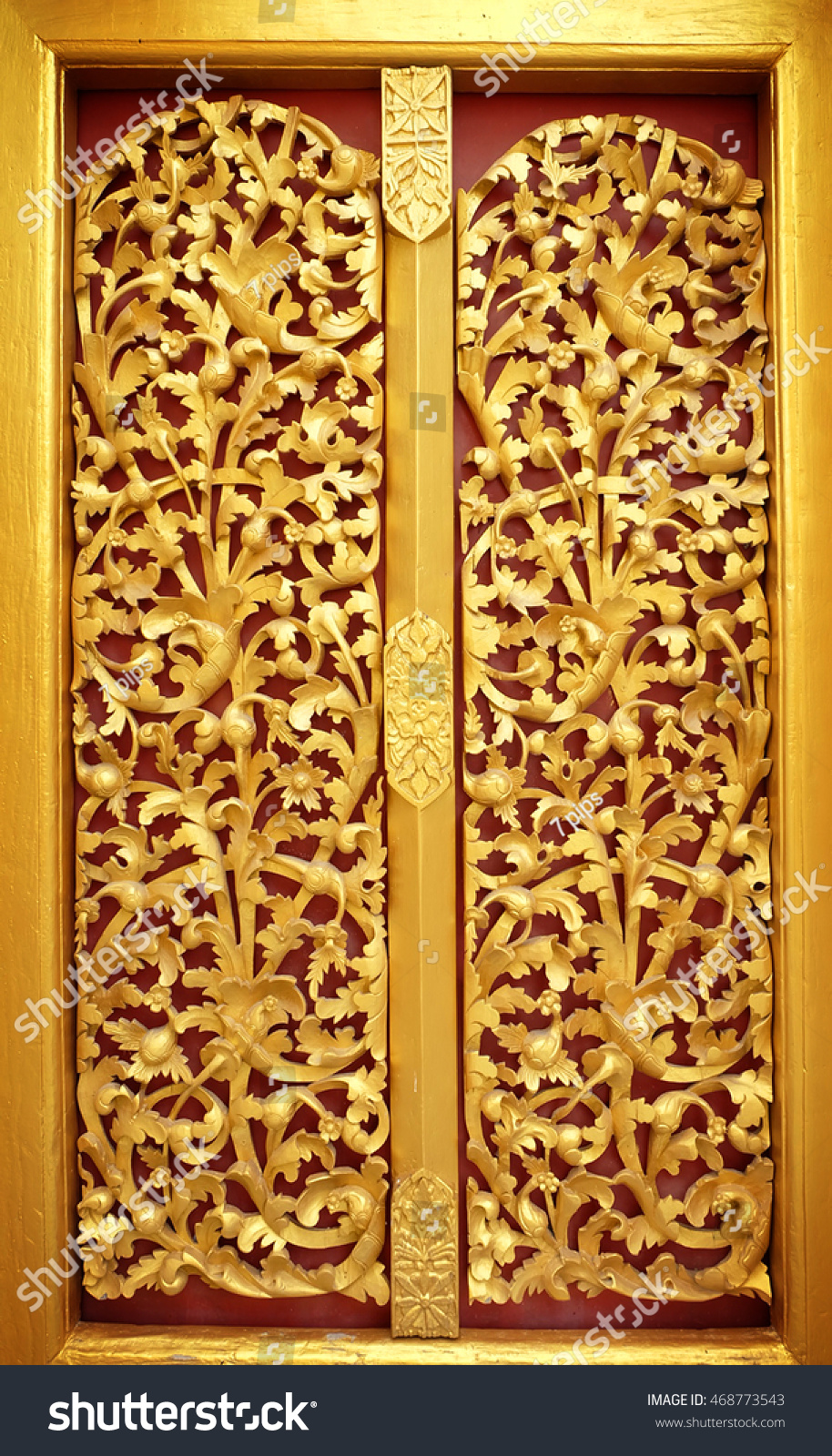 Gold Door Of The Temple Is Very Beautiful Pattern Lai Kanok (Thai Design)  Carved